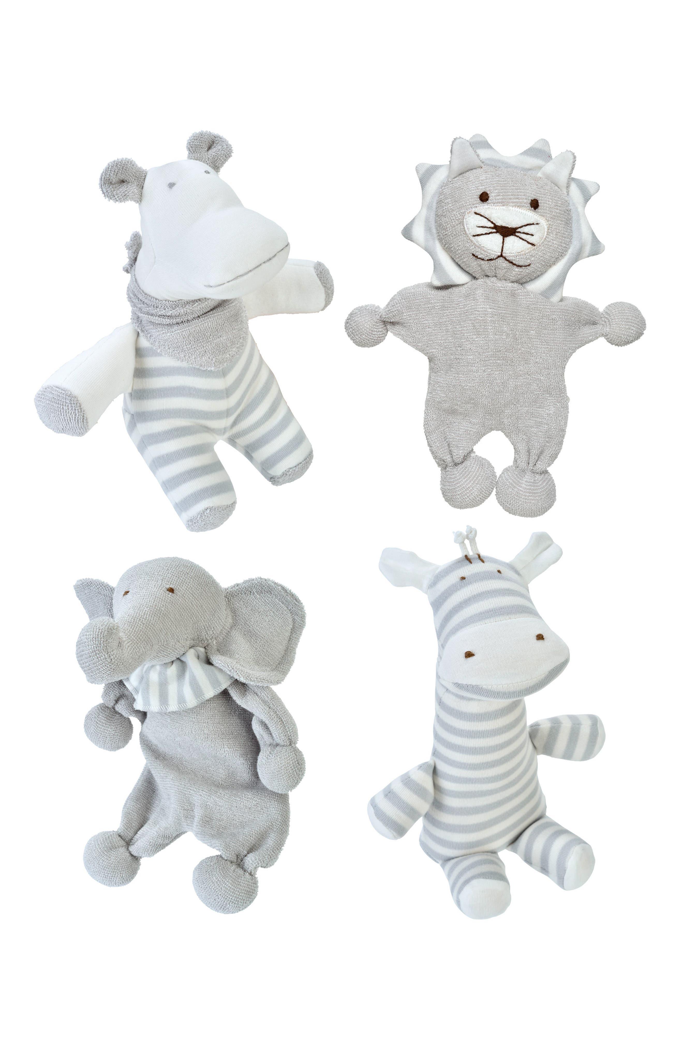 4-Piece Safari Stuffed Animal Set,                         Main,                         color, 021