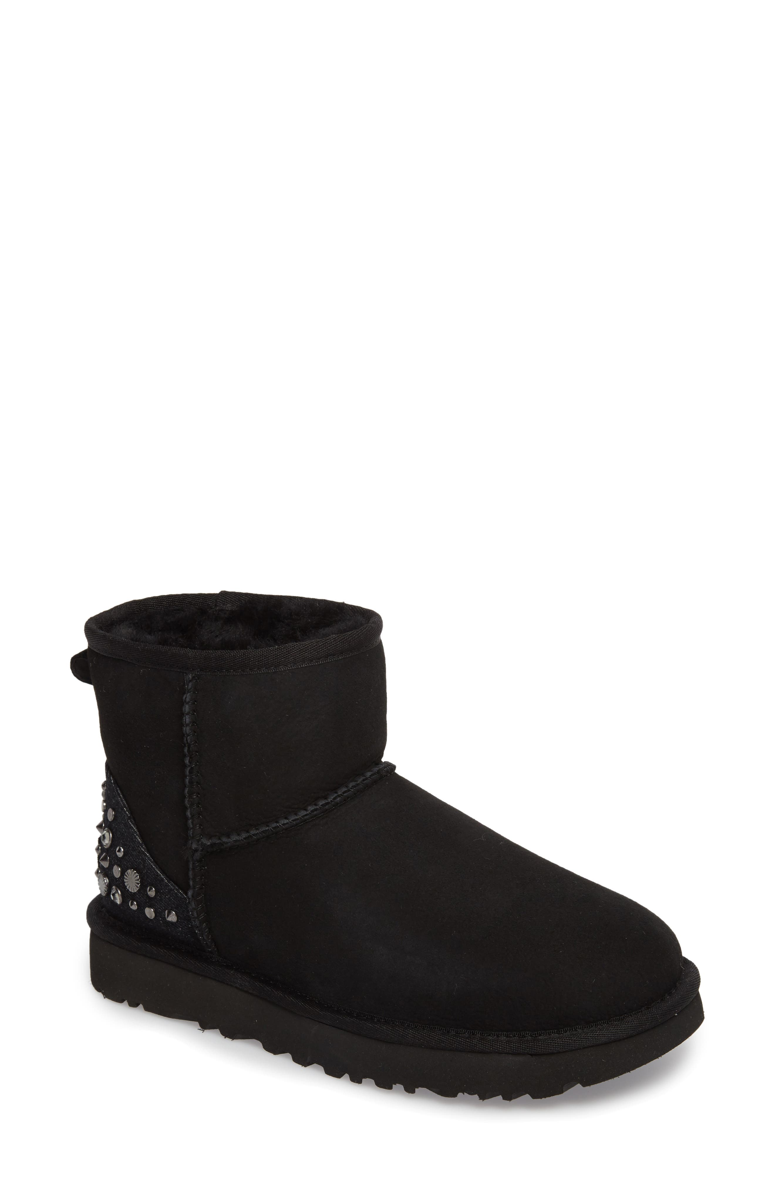 Studded Mini Genuine Shearling Lined Boot,                         Main,                         color, 001