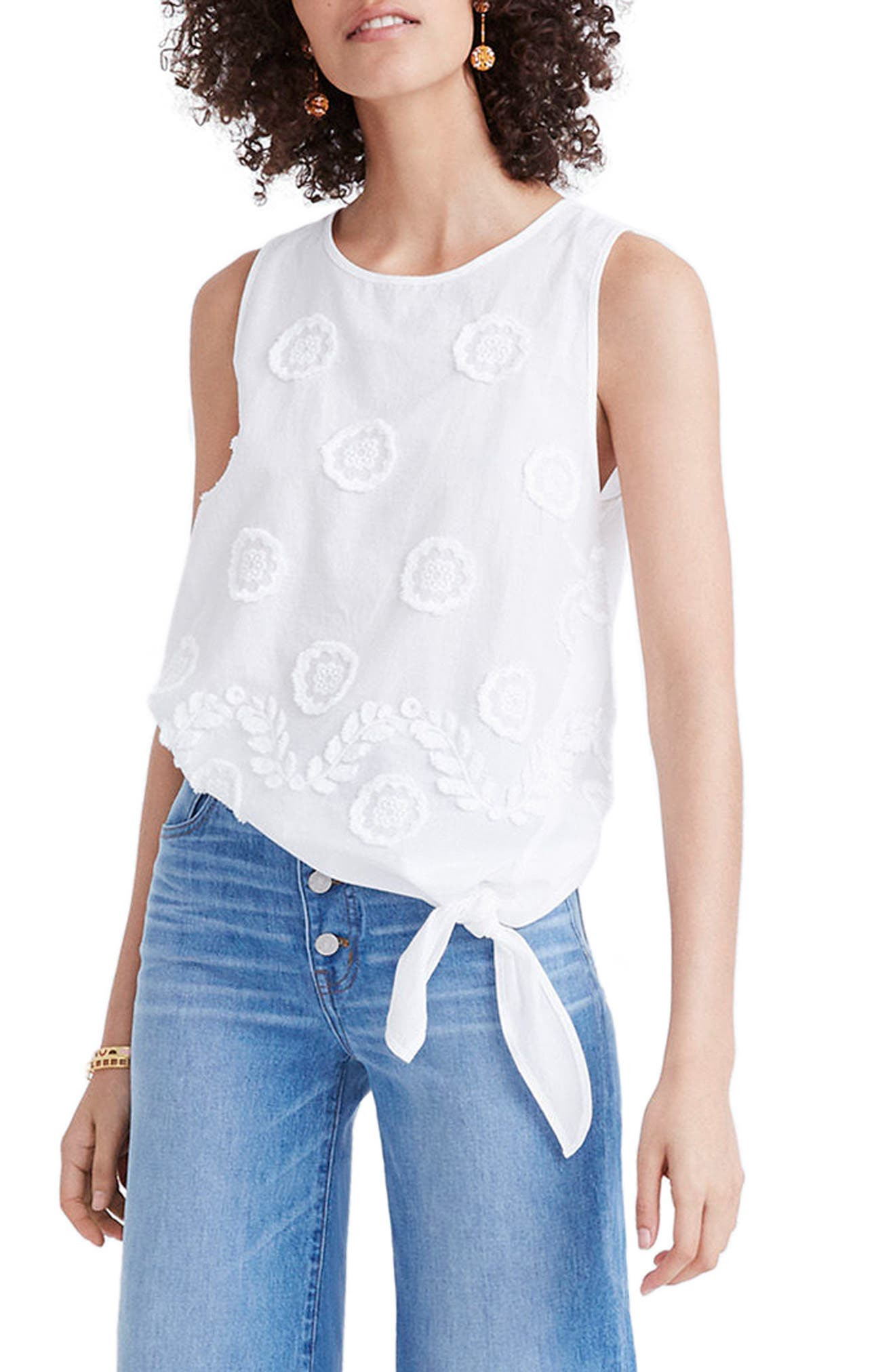 MADEWELL Embroidered Side Tie Tank, Main, color, 101