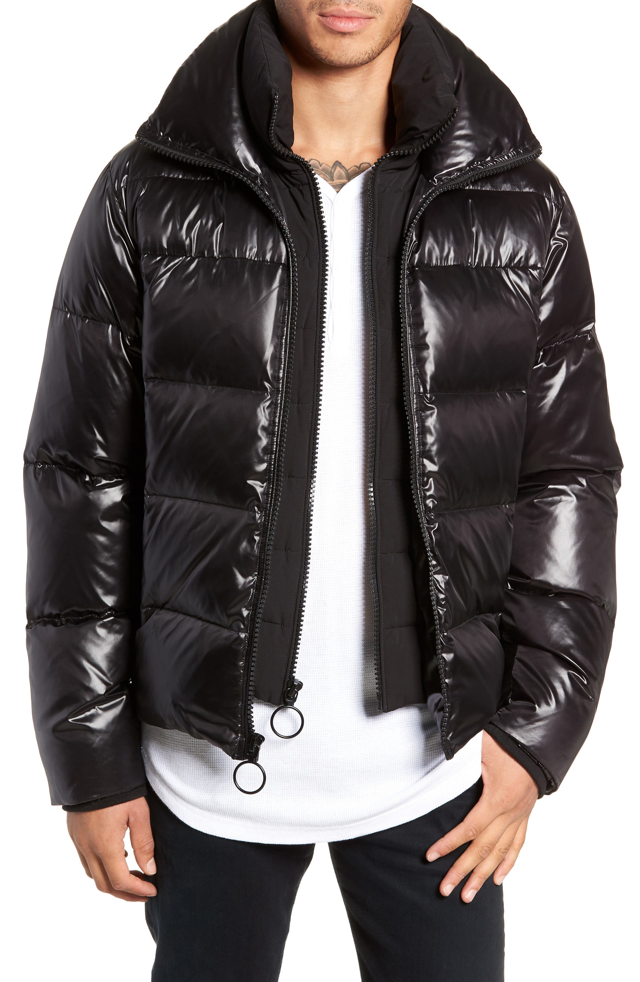 Logan Water Repellent Down & Feather Fill Puffer Jacket,                         Main,                         color, BLACK