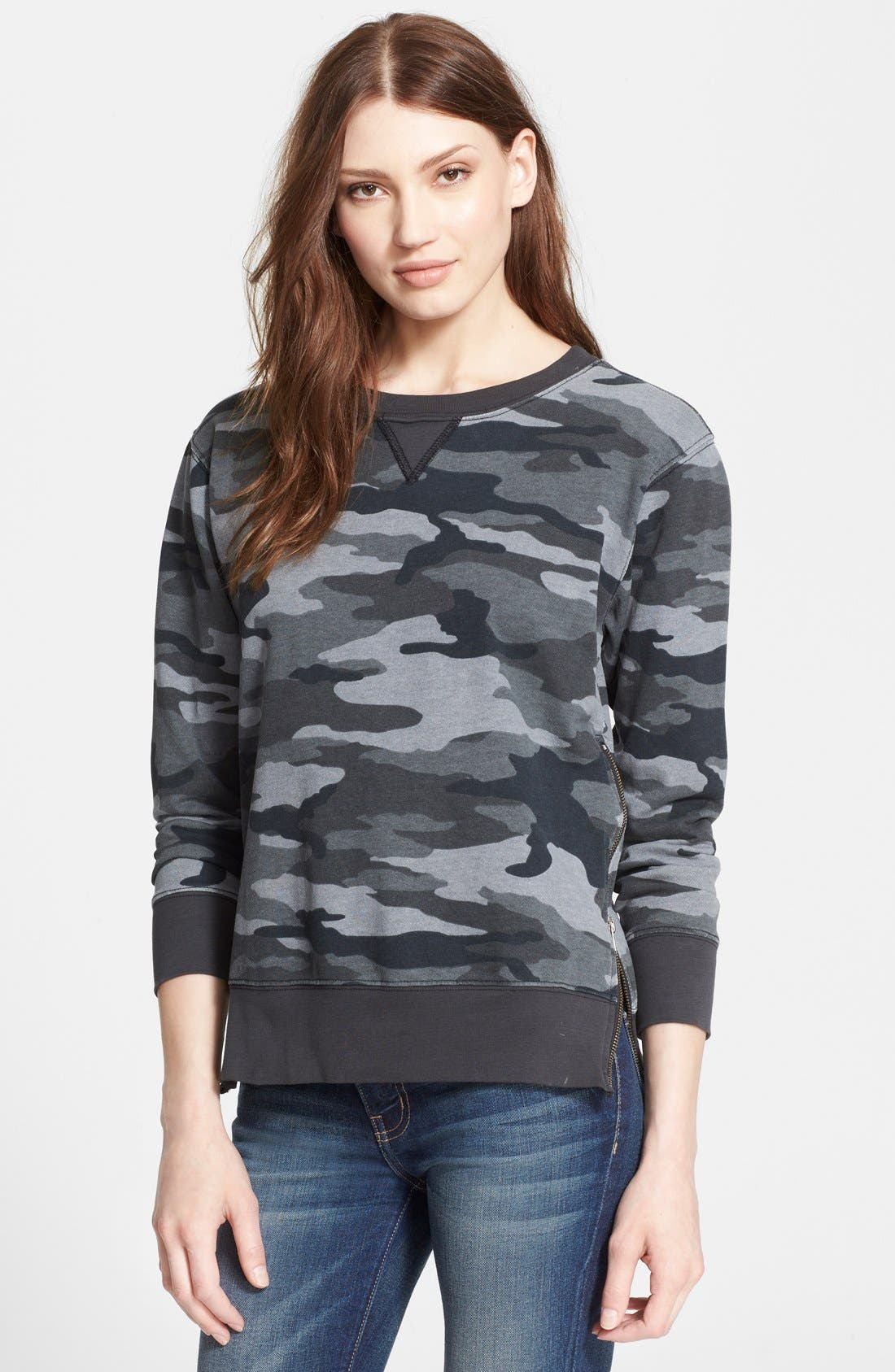 'The Stadium' Side Zip Camo Sweater,                             Main thumbnail 1, color,                             008