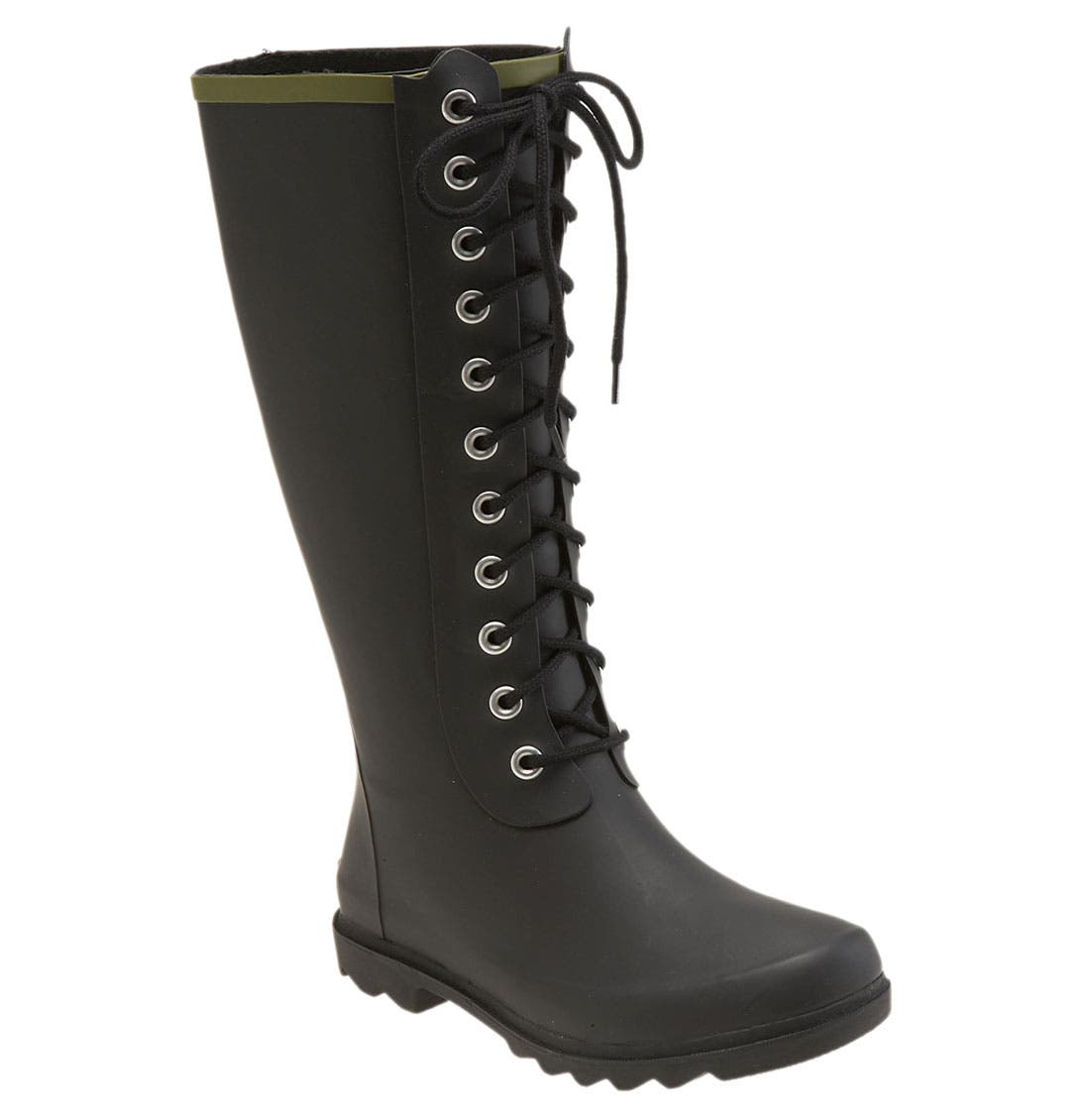 Lace-Up Rain Boot, Main, color, 001