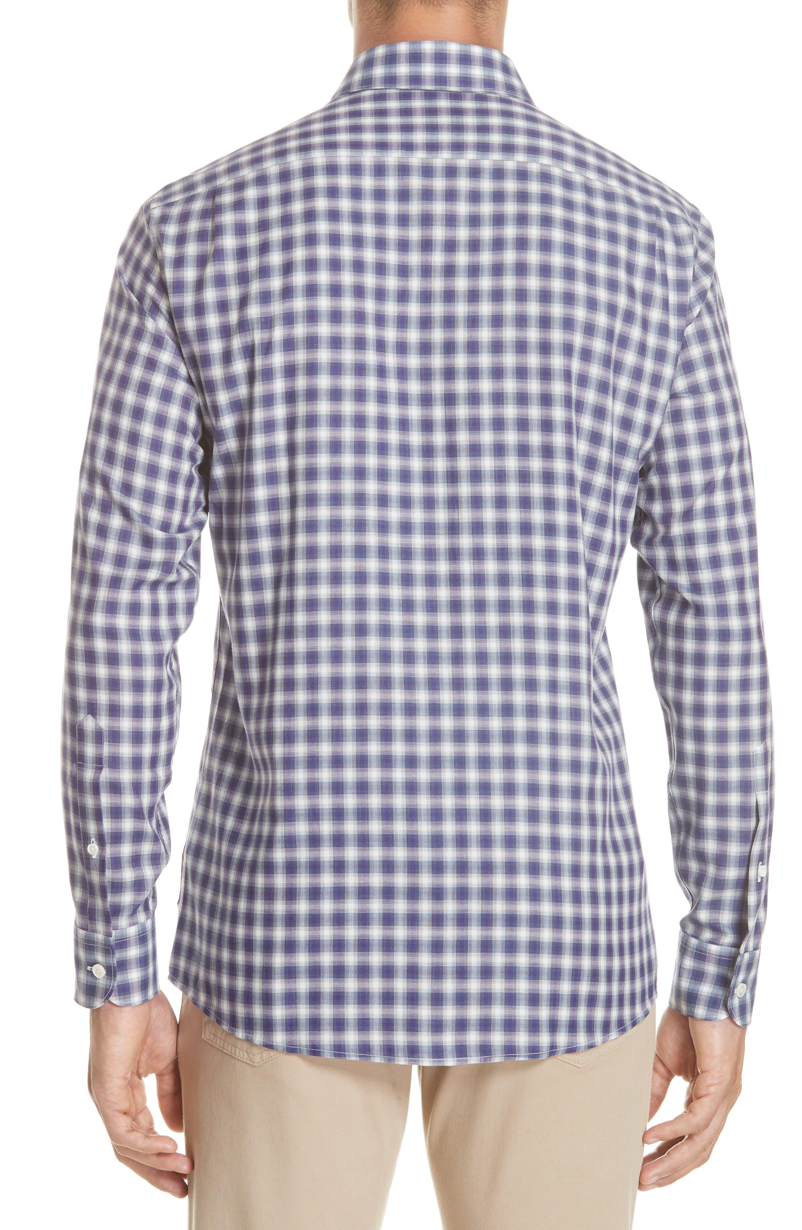 Classic Fit Check Sport Shirt,                             Alternate thumbnail 3, color,                             PURPLE