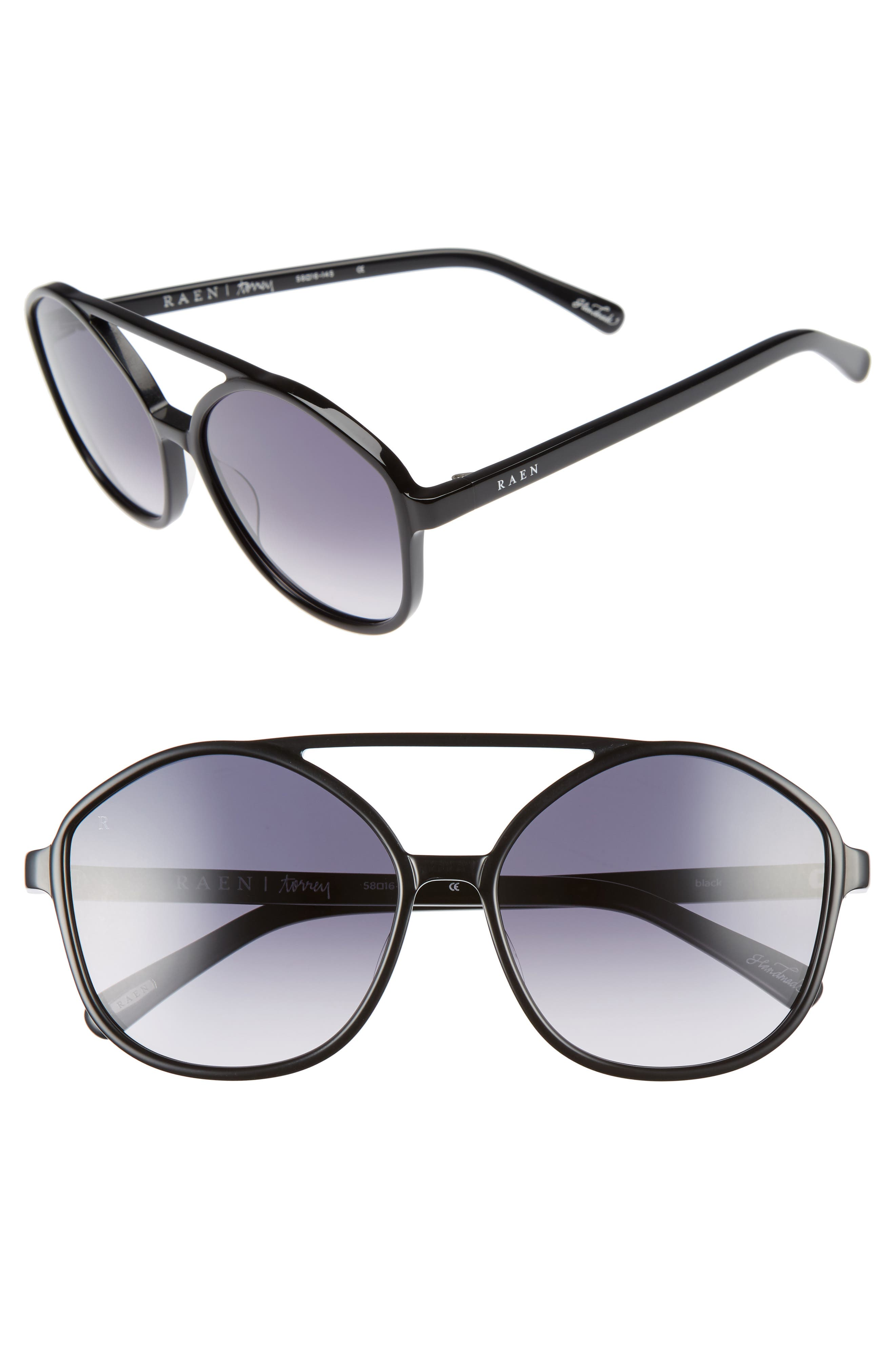Torrey 58mm Aviator Sunglasses,                         Main,                         color, 001