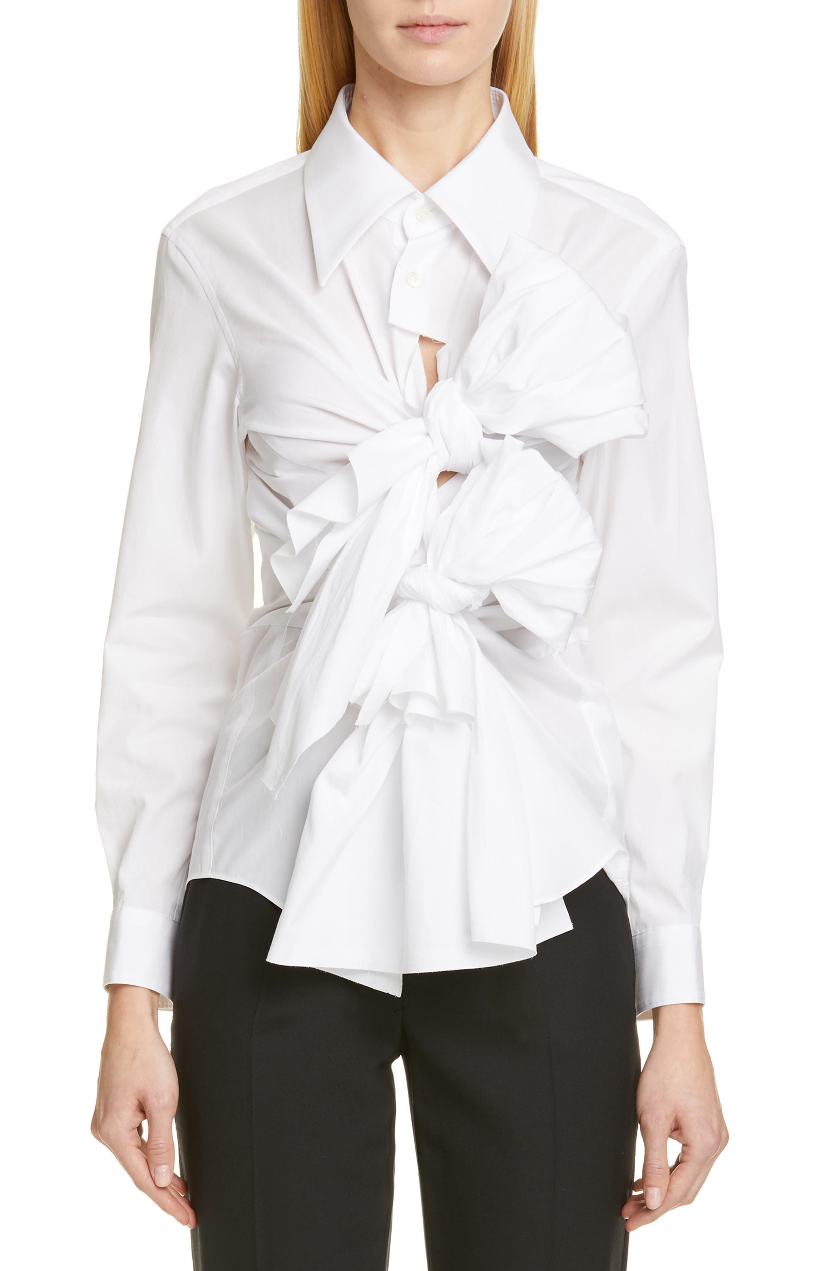 COMME DES GARÇONS,                             Tie Front Shirt,                             Main thumbnail 1, color,                             WHITE