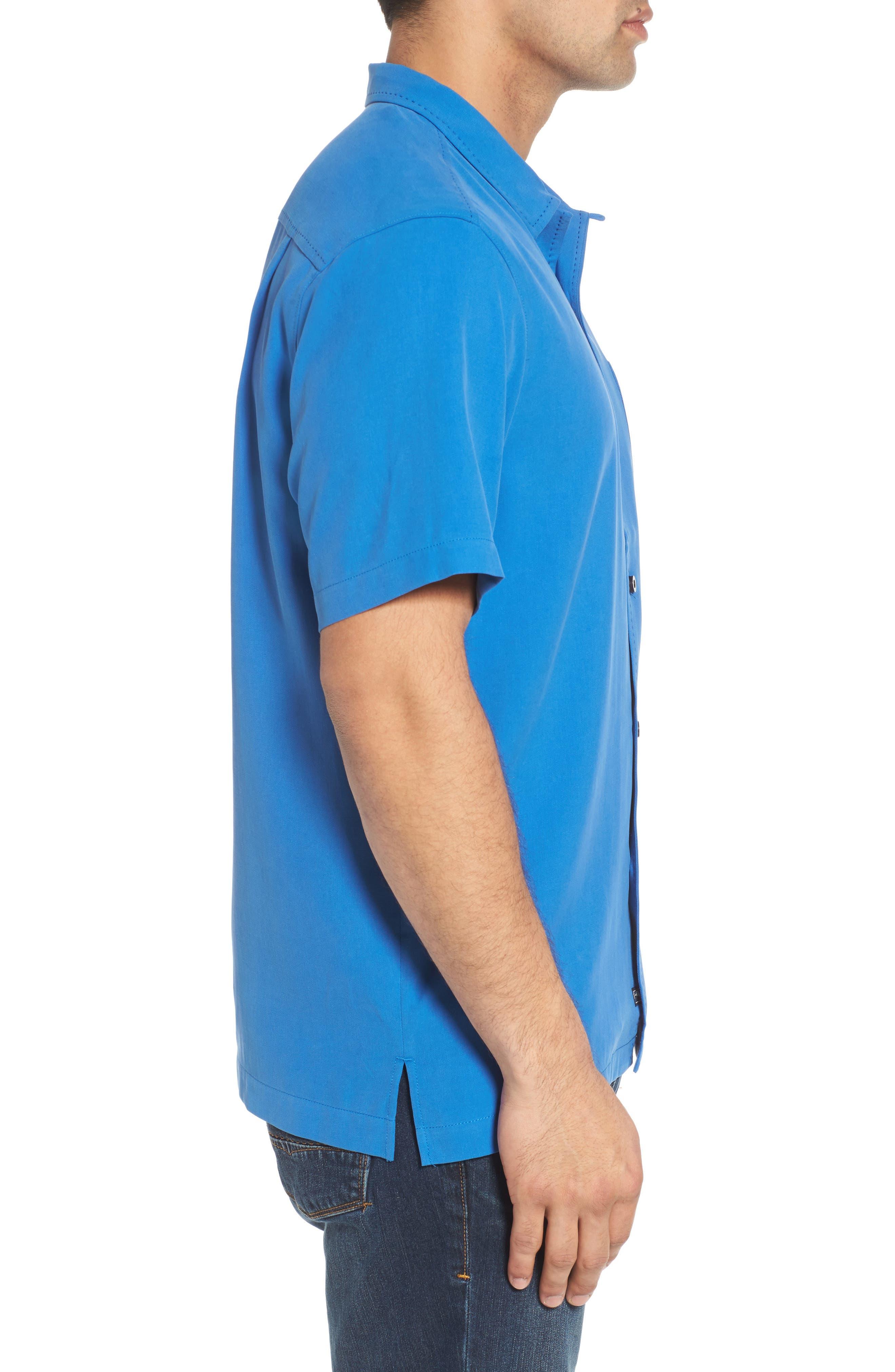 Catalina Twill Sport Shirt,                             Alternate thumbnail 3, color,                             NAVY