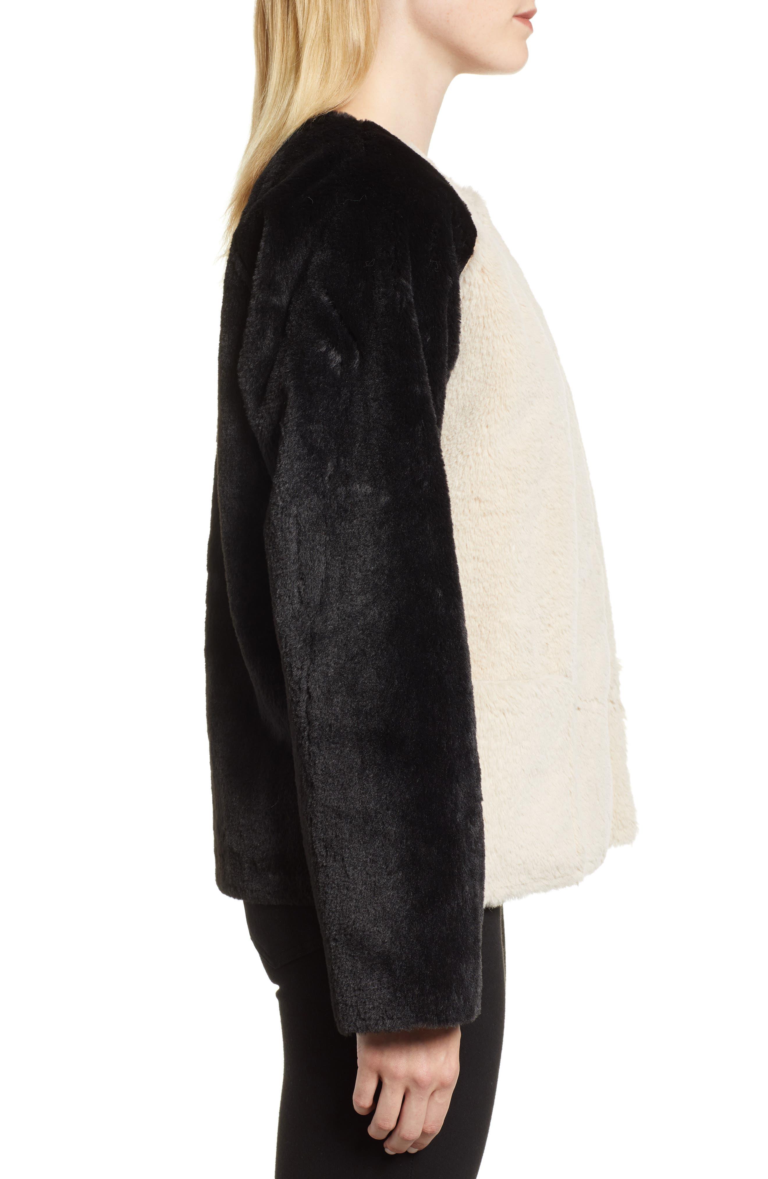 Colorblock Faux Fur Jacket,                             Alternate thumbnail 3, color,                             MULTI