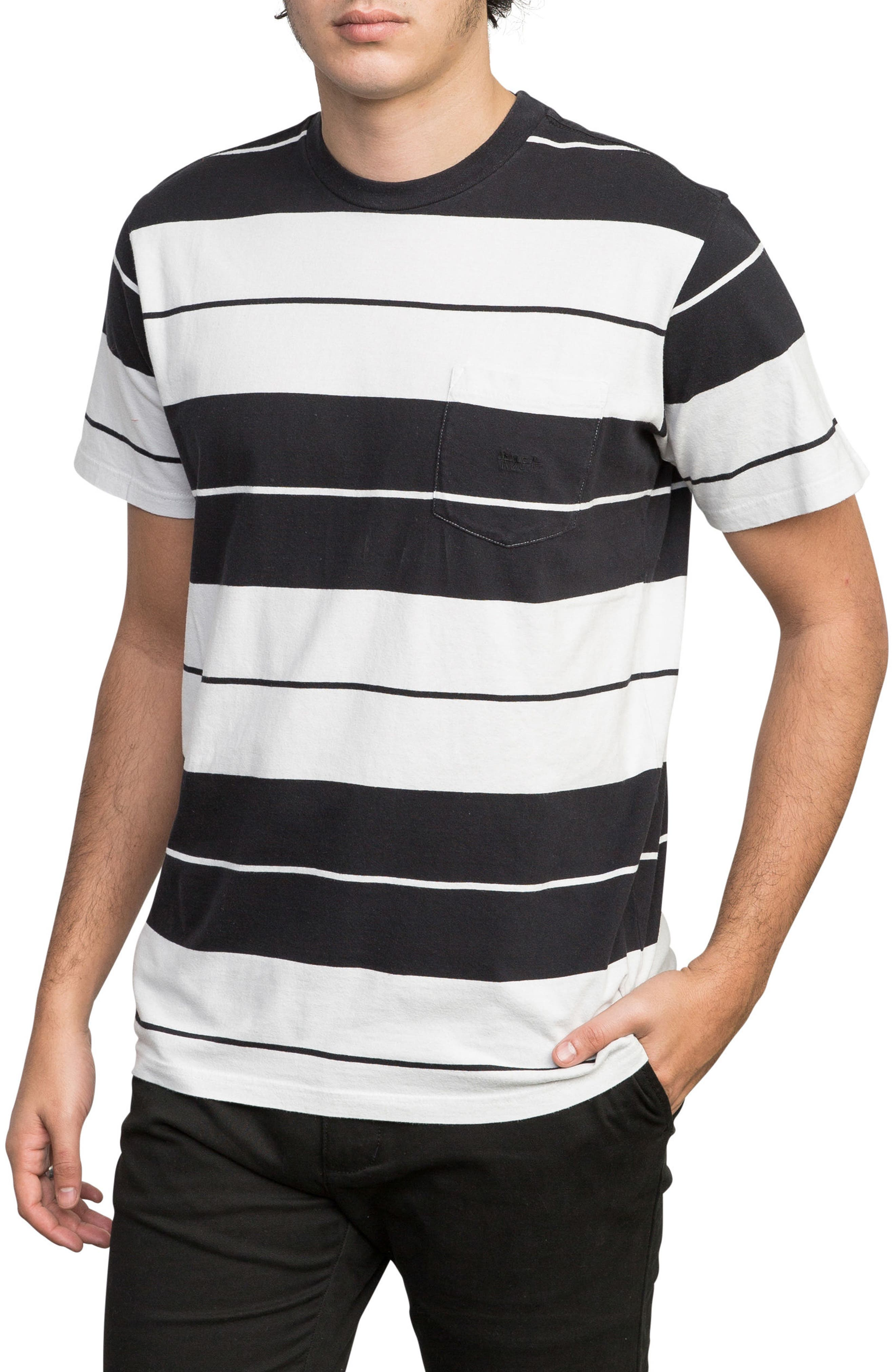 Ellis Stripe Pocket T-Shirt,                             Alternate thumbnail 3, color,                             BLACK