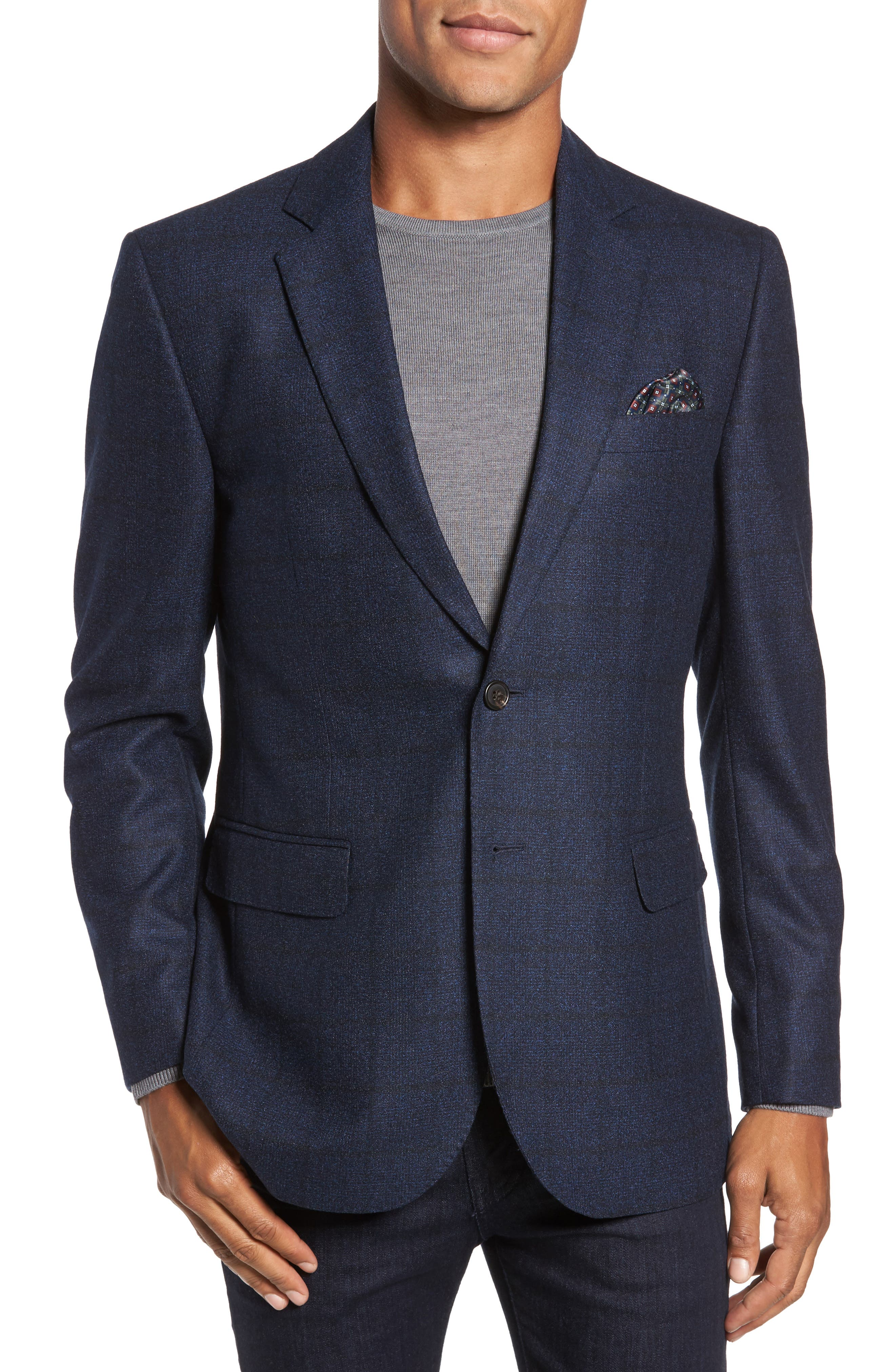 Andersen Trim Fit Plaid Wool Sport Coat,                         Main,                         color, 209