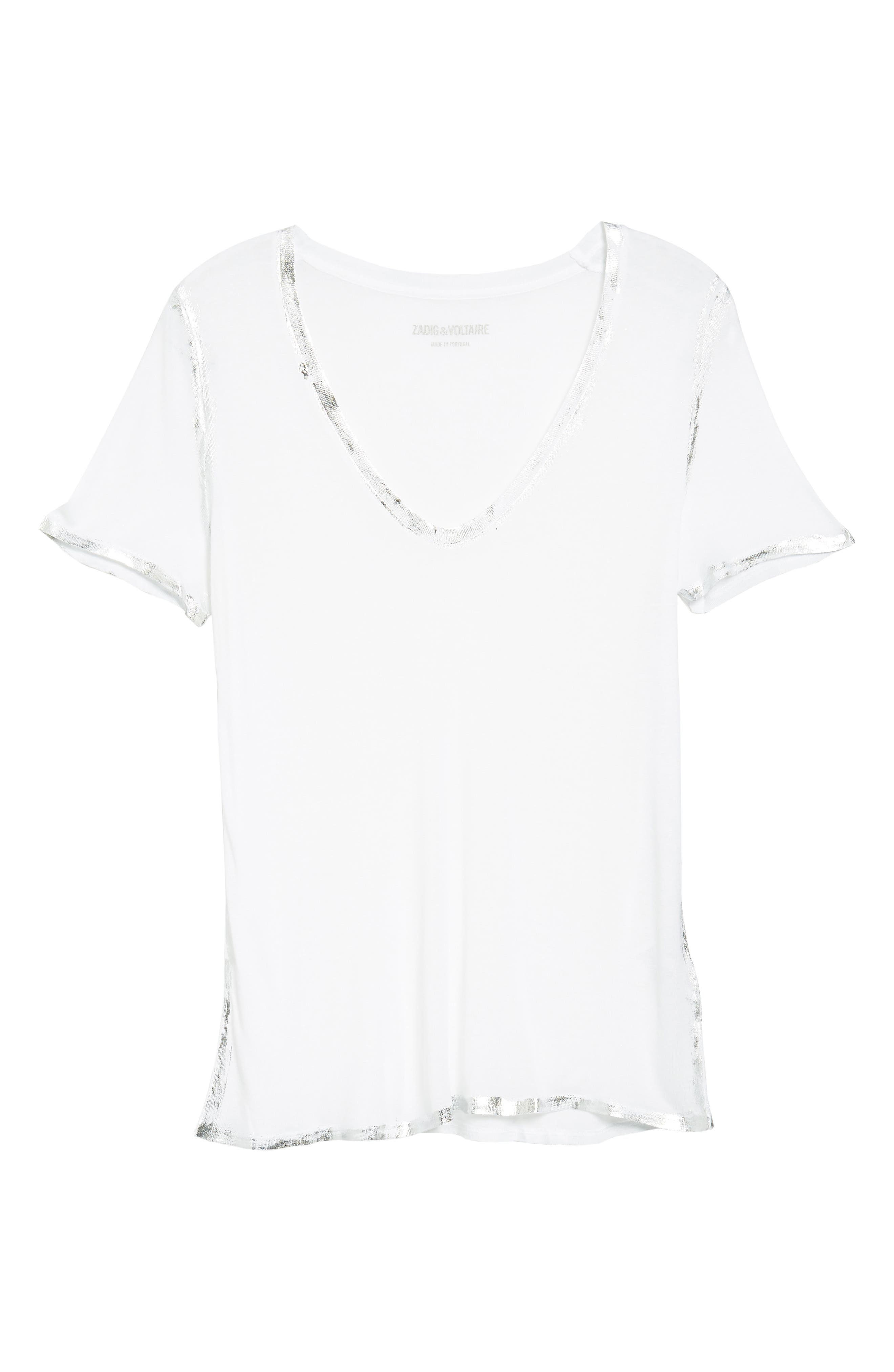 ZADIG & VOLTAIRE 'Tino' Foil Accent Tee, Main, color, 116