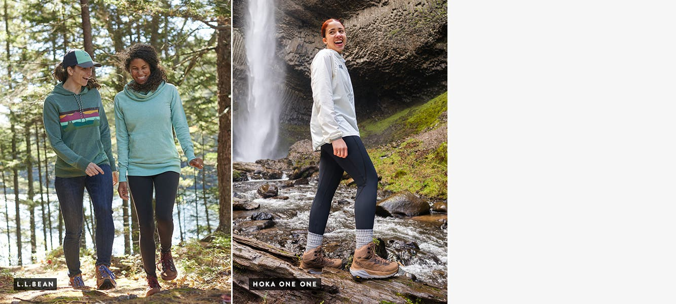 Separate shots of two women and a man hiking in L.L.Bean clothes. Close-ups of HOKA ONE ONE shoes and a Salomon shoe.