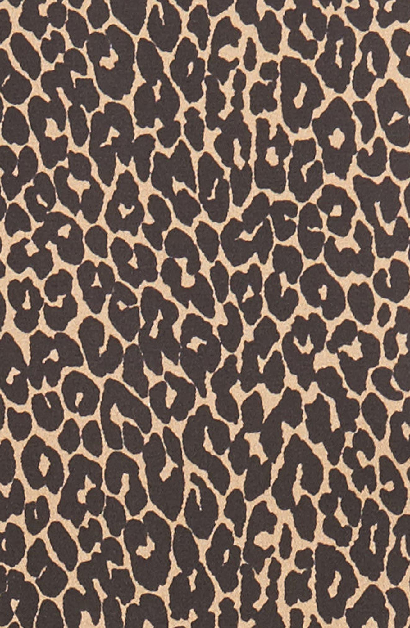 Leopard Print Silk Georgette Shirtdress,                             Alternate thumbnail 6, color,                             200