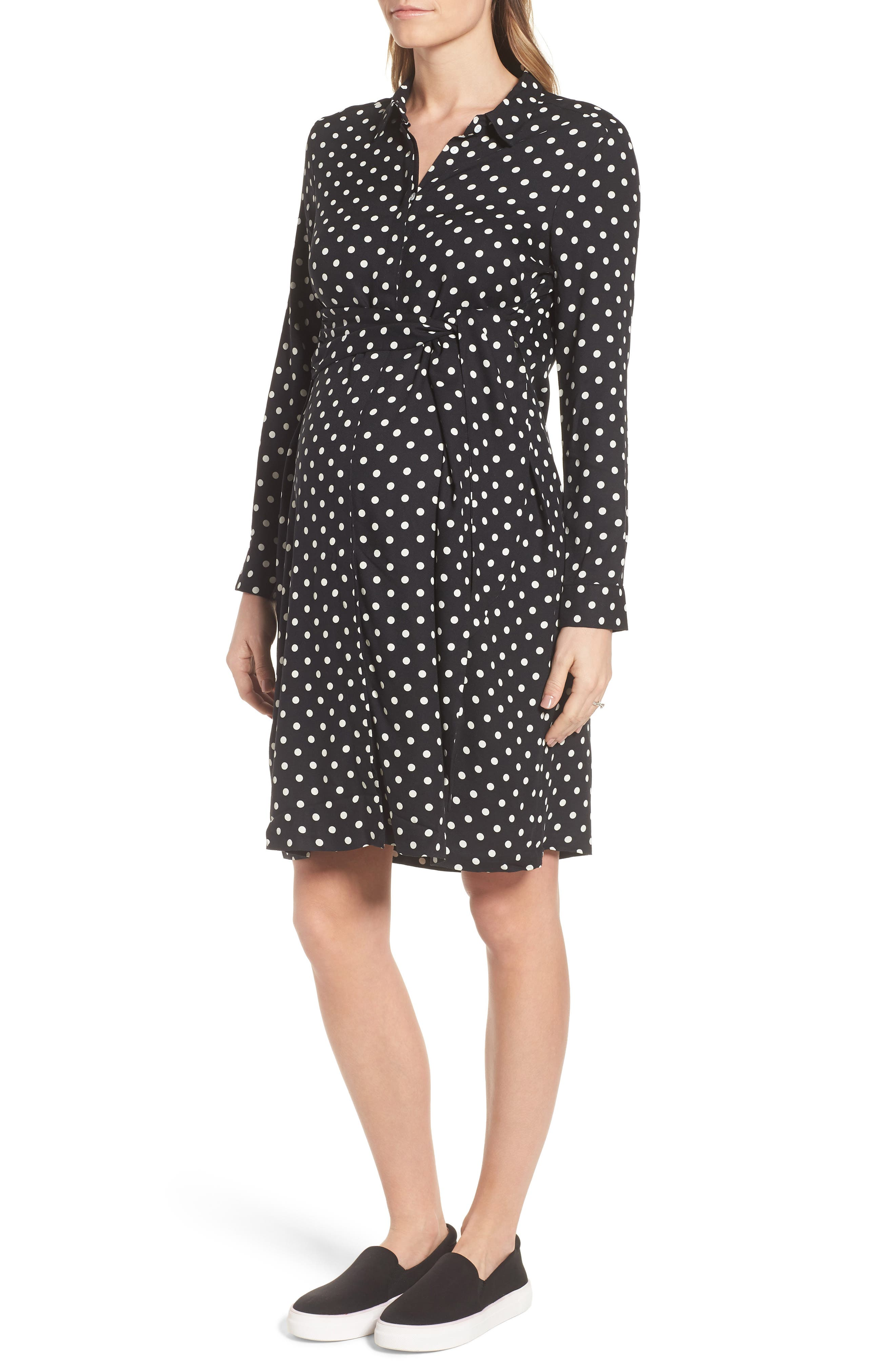 ISABELLA OLIVER,                             Elisha Maternity Shirtdress,                             Alternate thumbnail 3, color,                             BLACK/WHITE POLKA CREPE