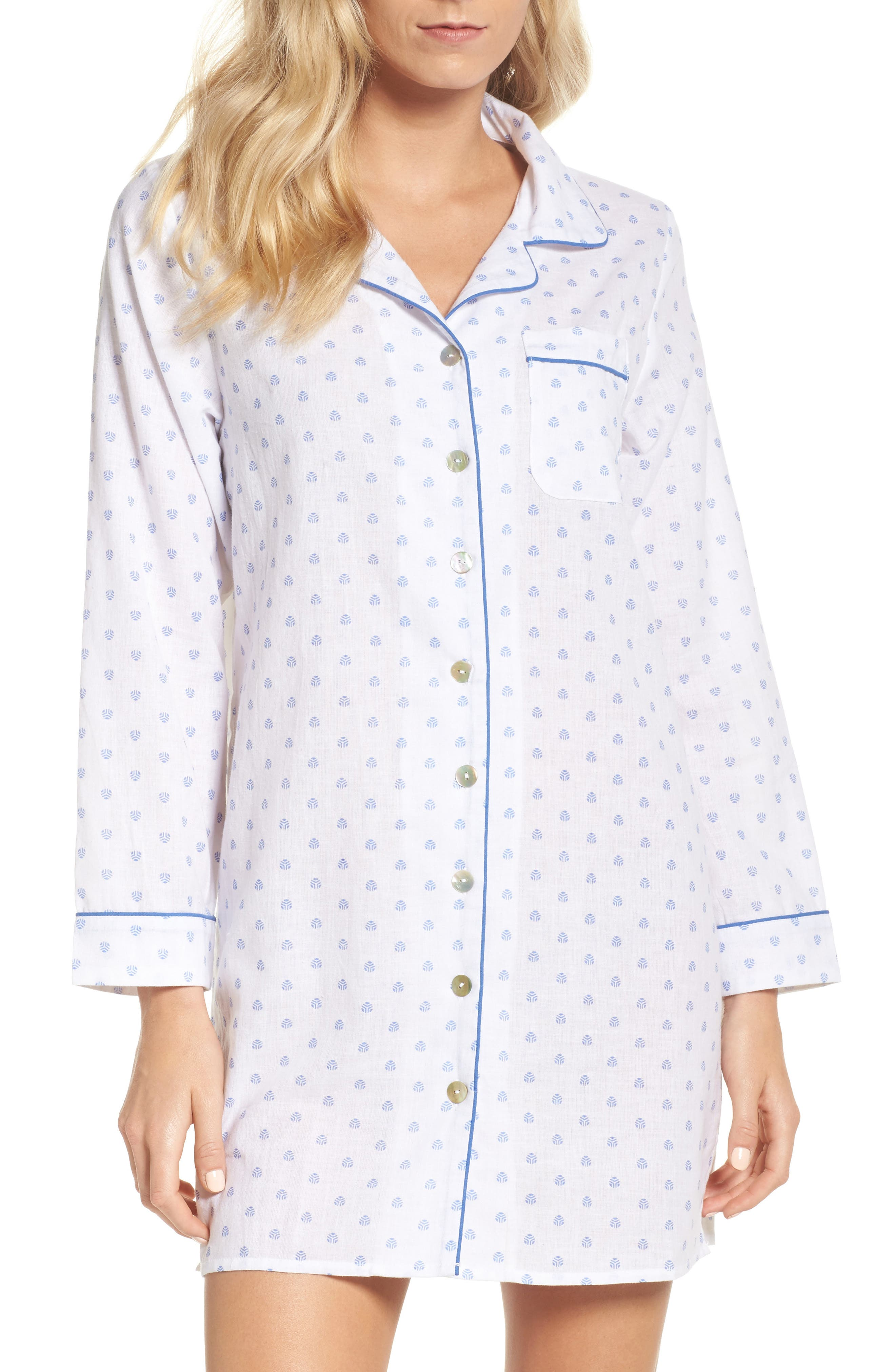 Print Washed Cotton Sleep Shirt,                         Main,                         color, 100