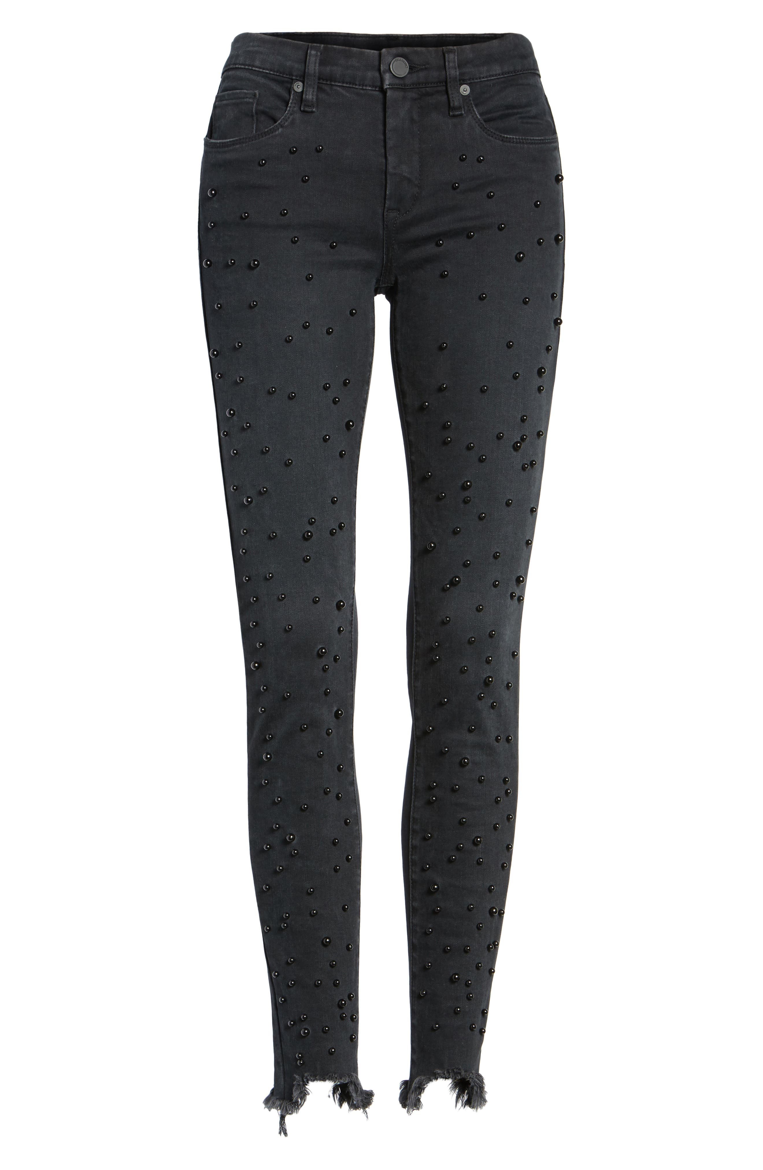 Faux Pearl Embellished Skinny Jeans,                             Alternate thumbnail 6, color,                             001