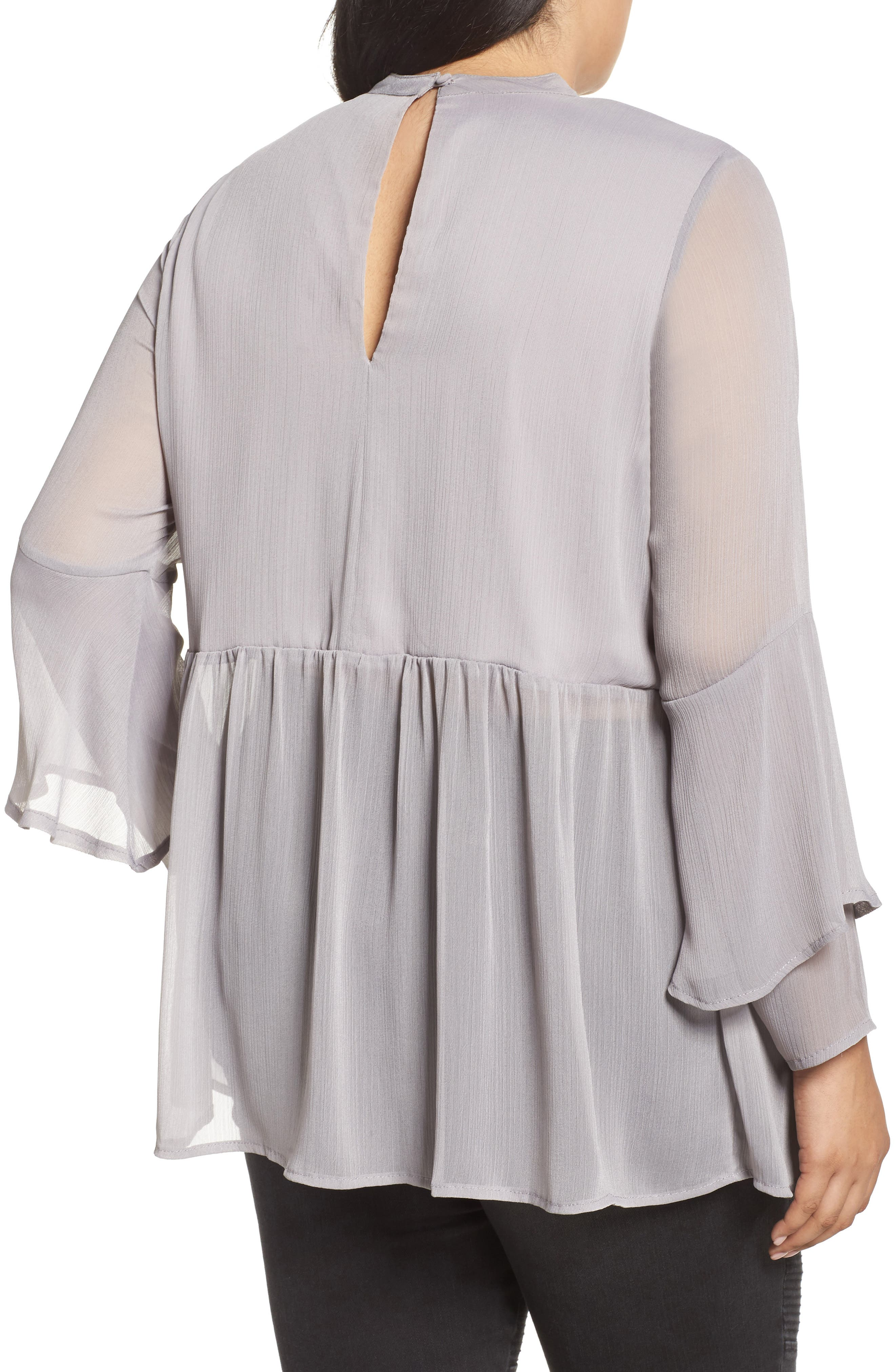 Crinkled Chiffon Top,                             Alternate thumbnail 2, color,