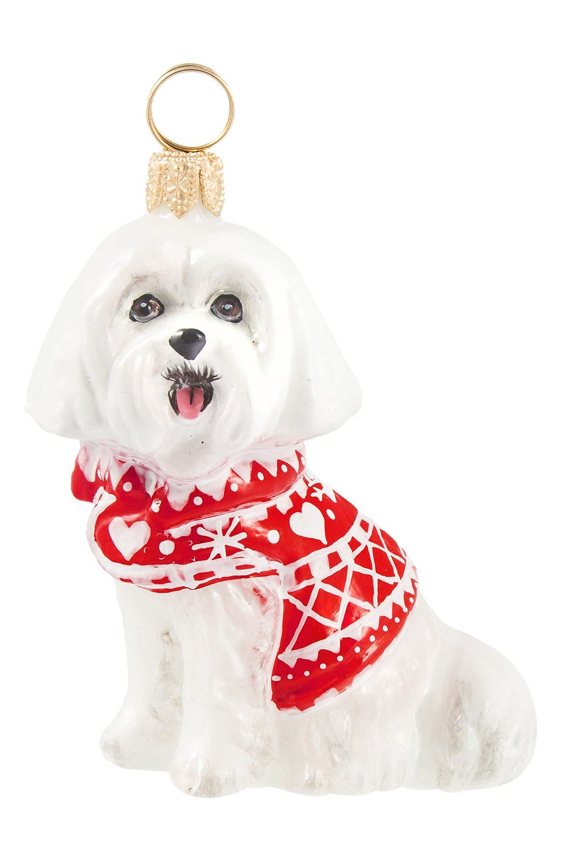 'Dog in Nordic Sweater' Ornament,                             Main thumbnail 1, color,                             MALTESE