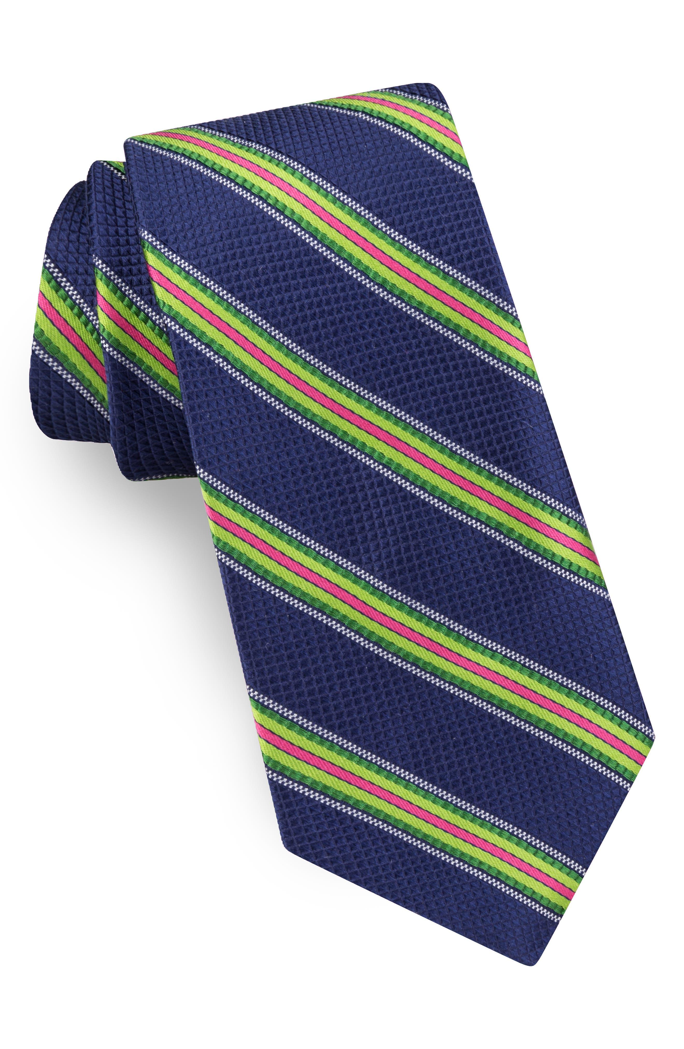 Multistripe Silk Tie,                         Main,                         color, NAVY