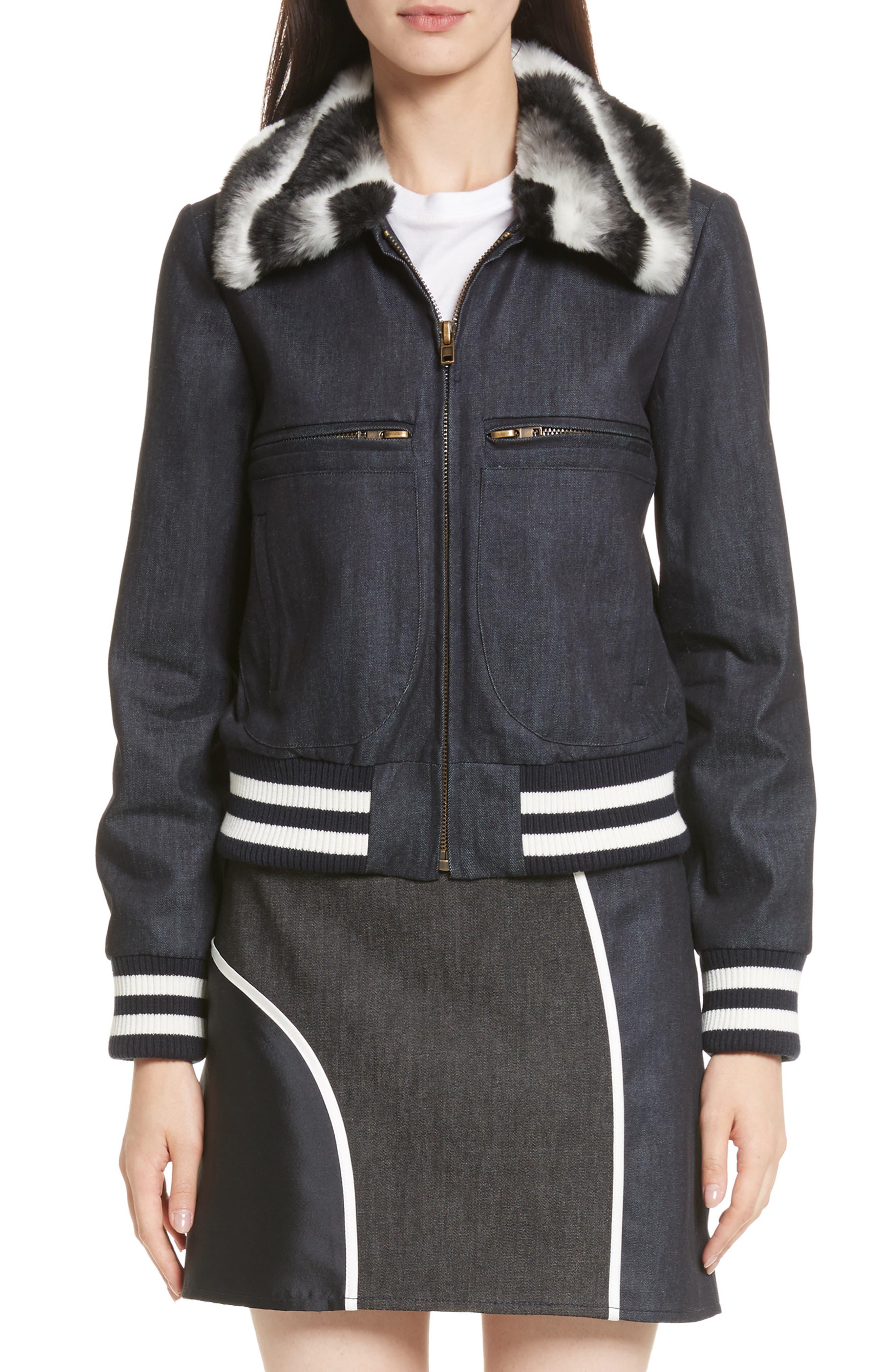 Faux Fur Collar Bomber Jacket,                             Main thumbnail 1, color,                             400