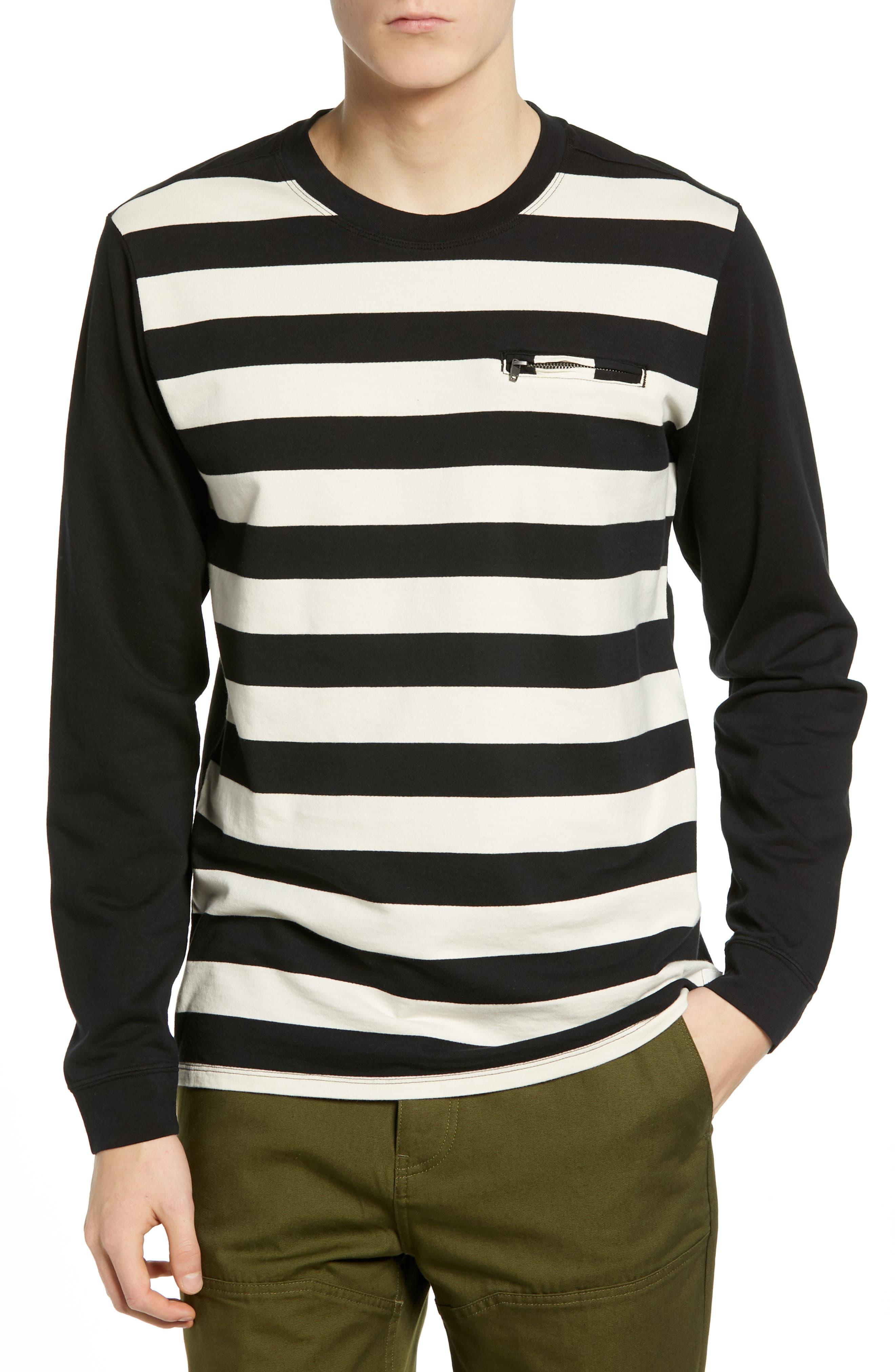 Hurley Moto Striped Long Sleeve T-Shirt, Black