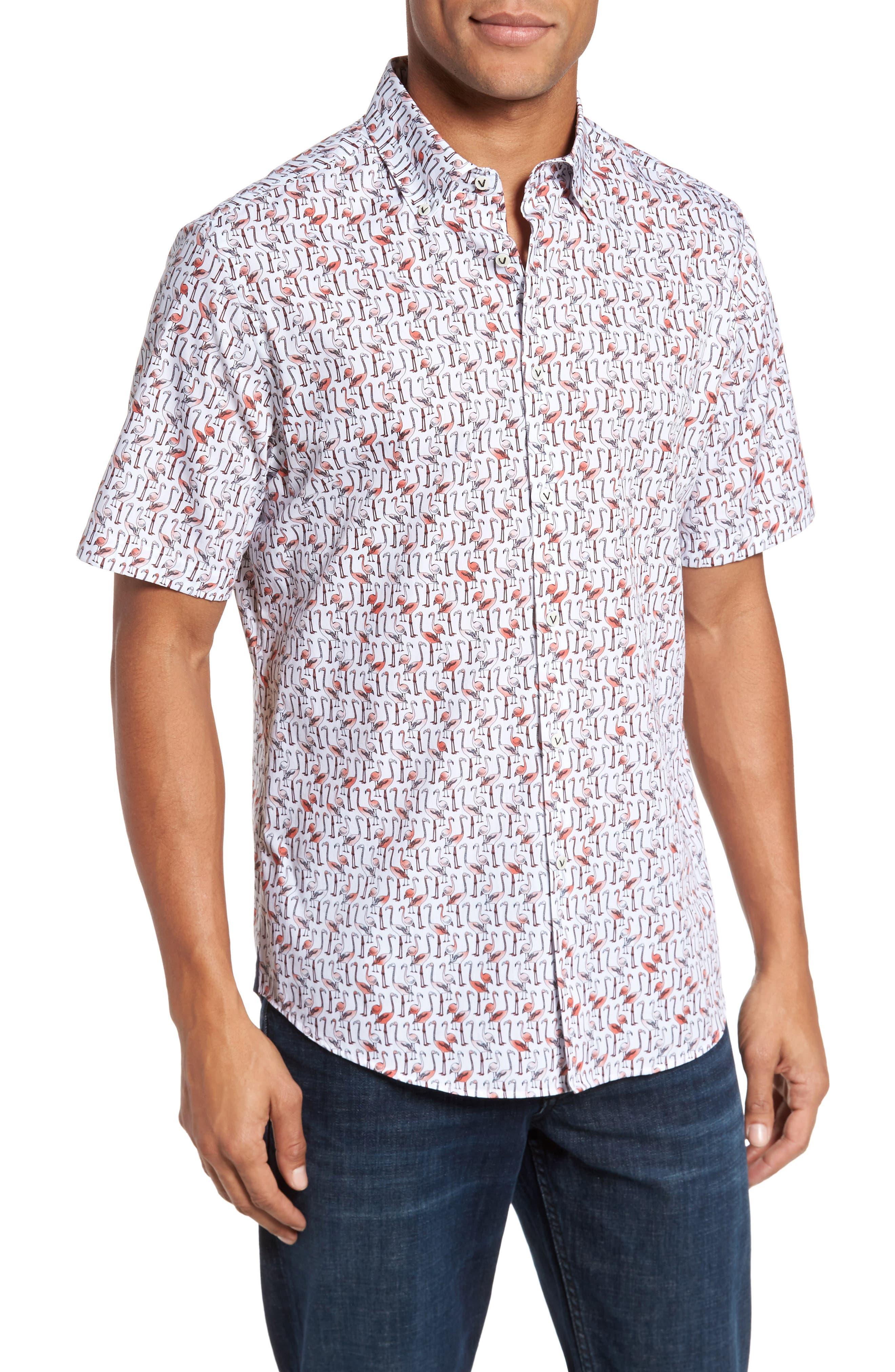 Slim Fit Flamingo Sport Shirt,                             Main thumbnail 1, color,                             950