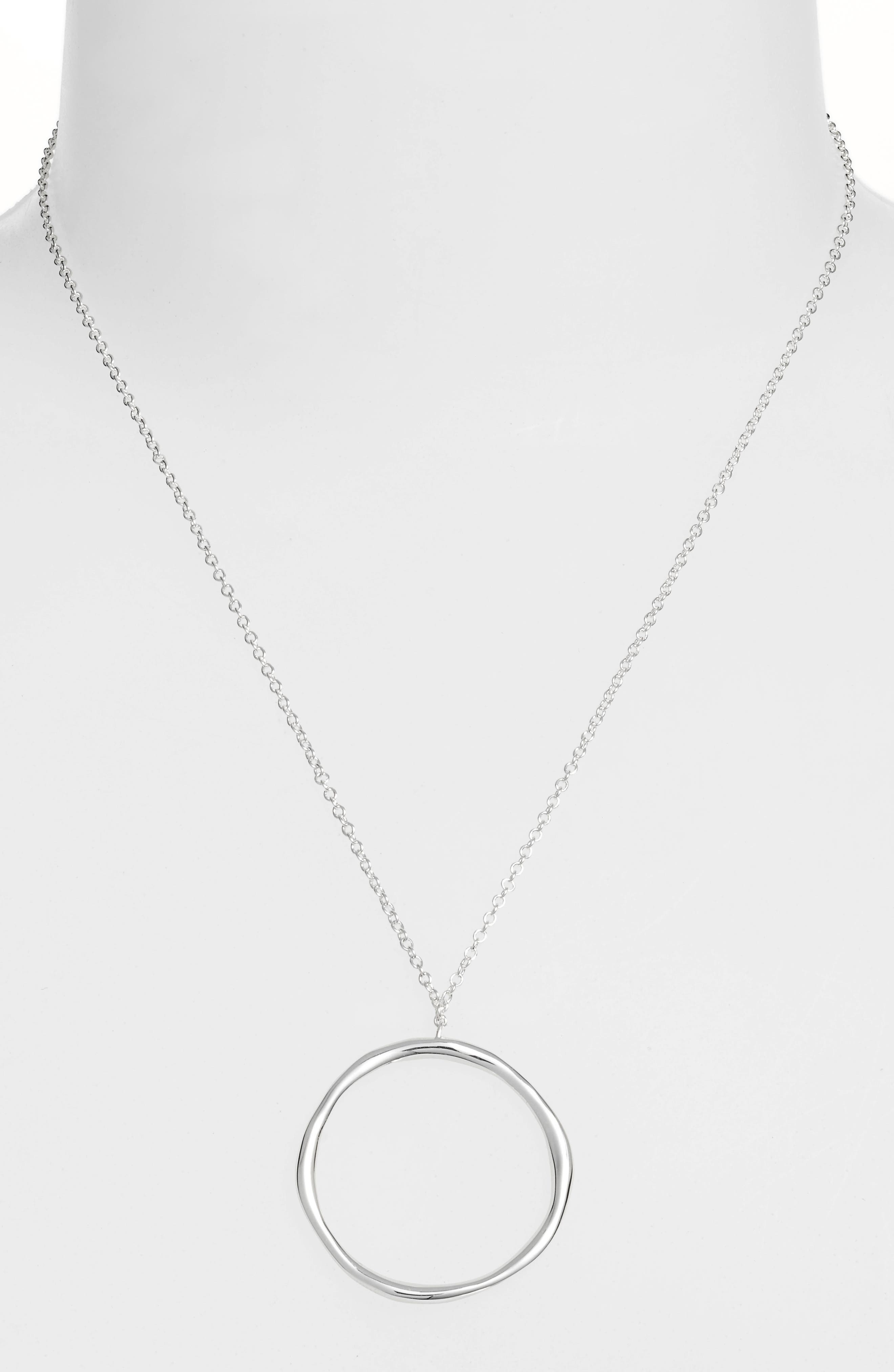 Quinn Hoop Necklace,                             Alternate thumbnail 2, color,                             SILVER