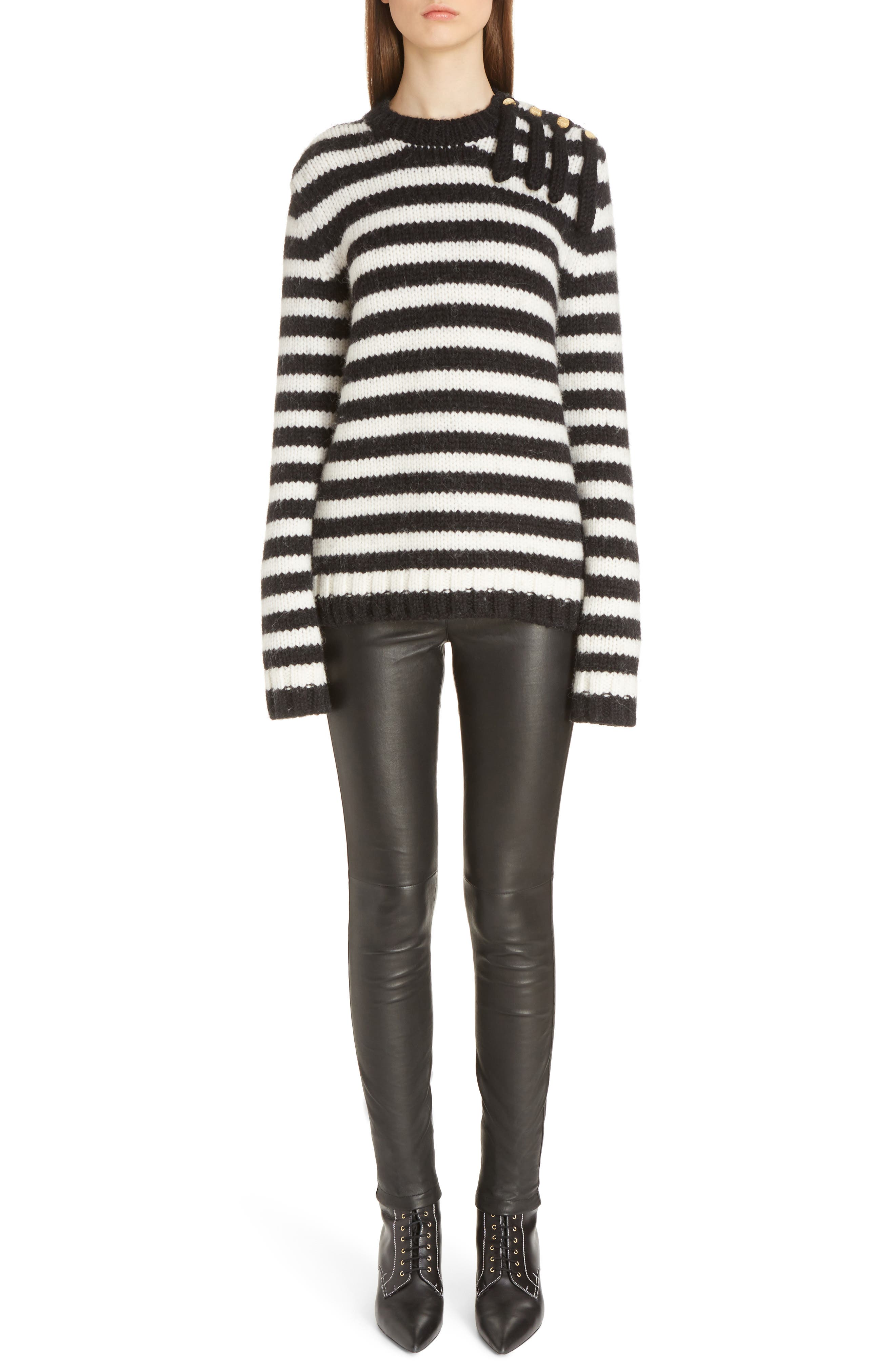 Stripe Wool & Alpaca Sweater,                             Alternate thumbnail 6, color,                             419