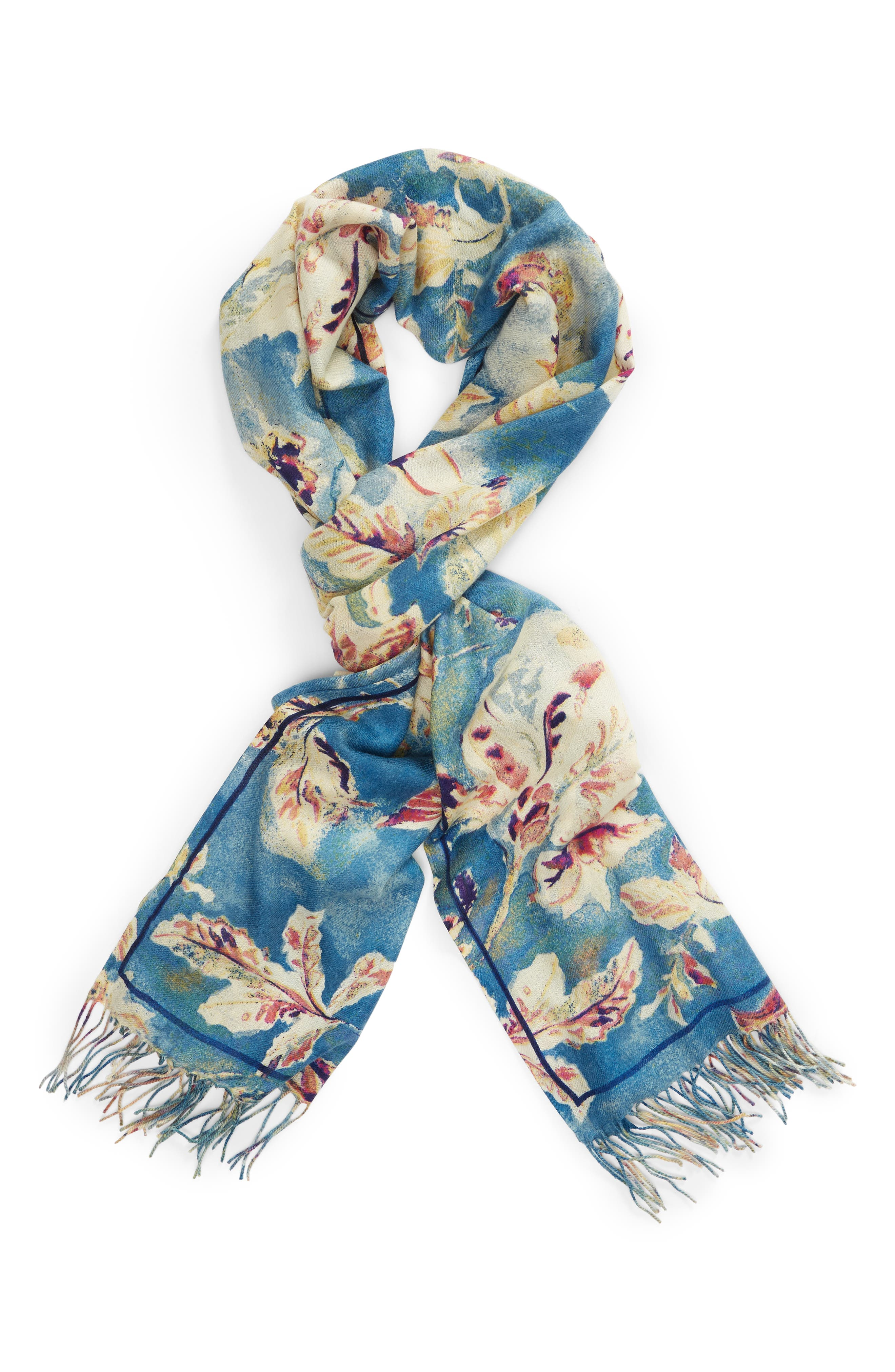 Tissue Print Wool & Cashmere Wrap Scarf,                             Alternate thumbnail 69, color,