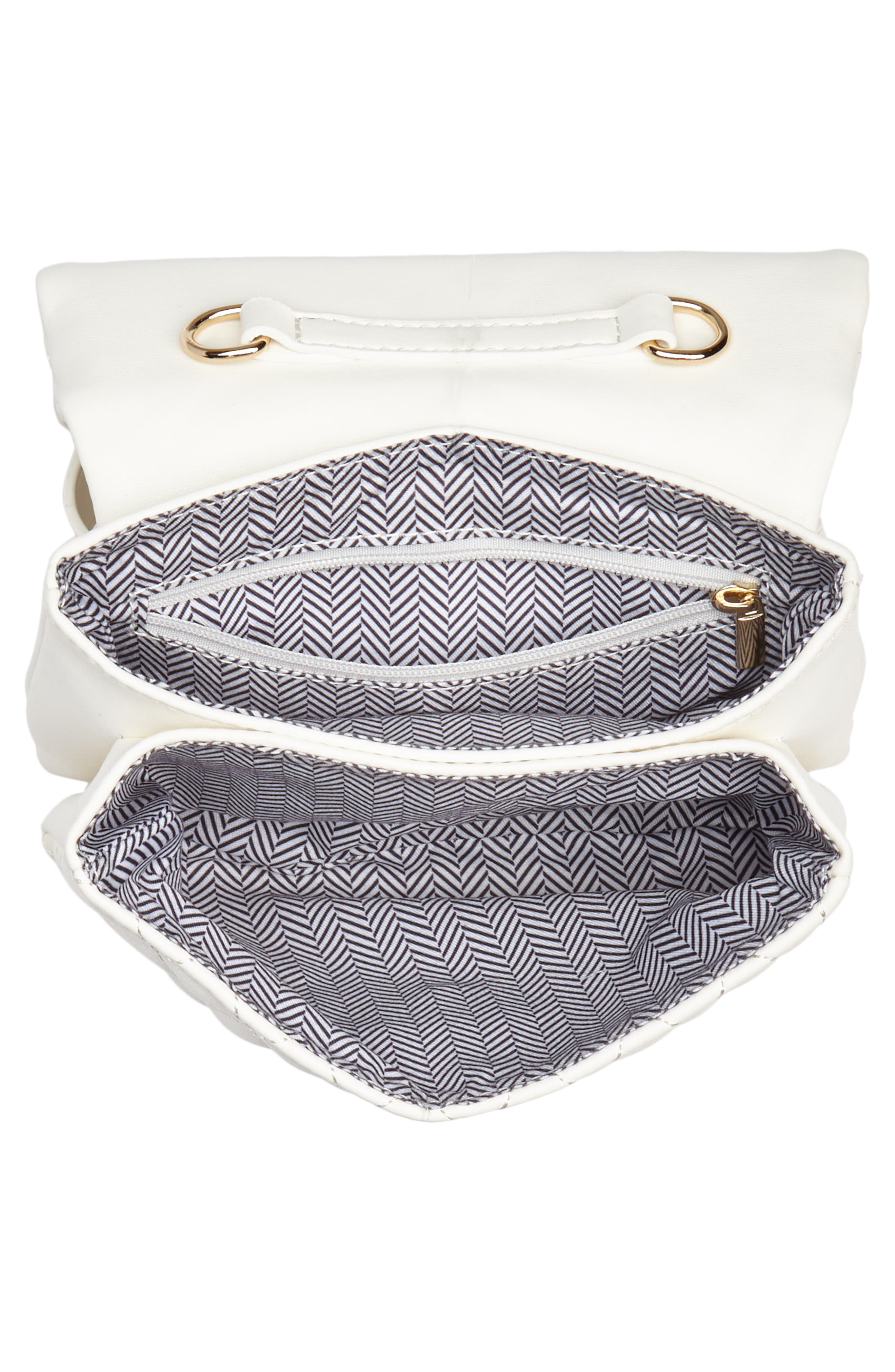 Mali + Lili Quilted Vegan Leather Convertible Belt Bag,                             Alternate thumbnail 6, color,                             WHITE