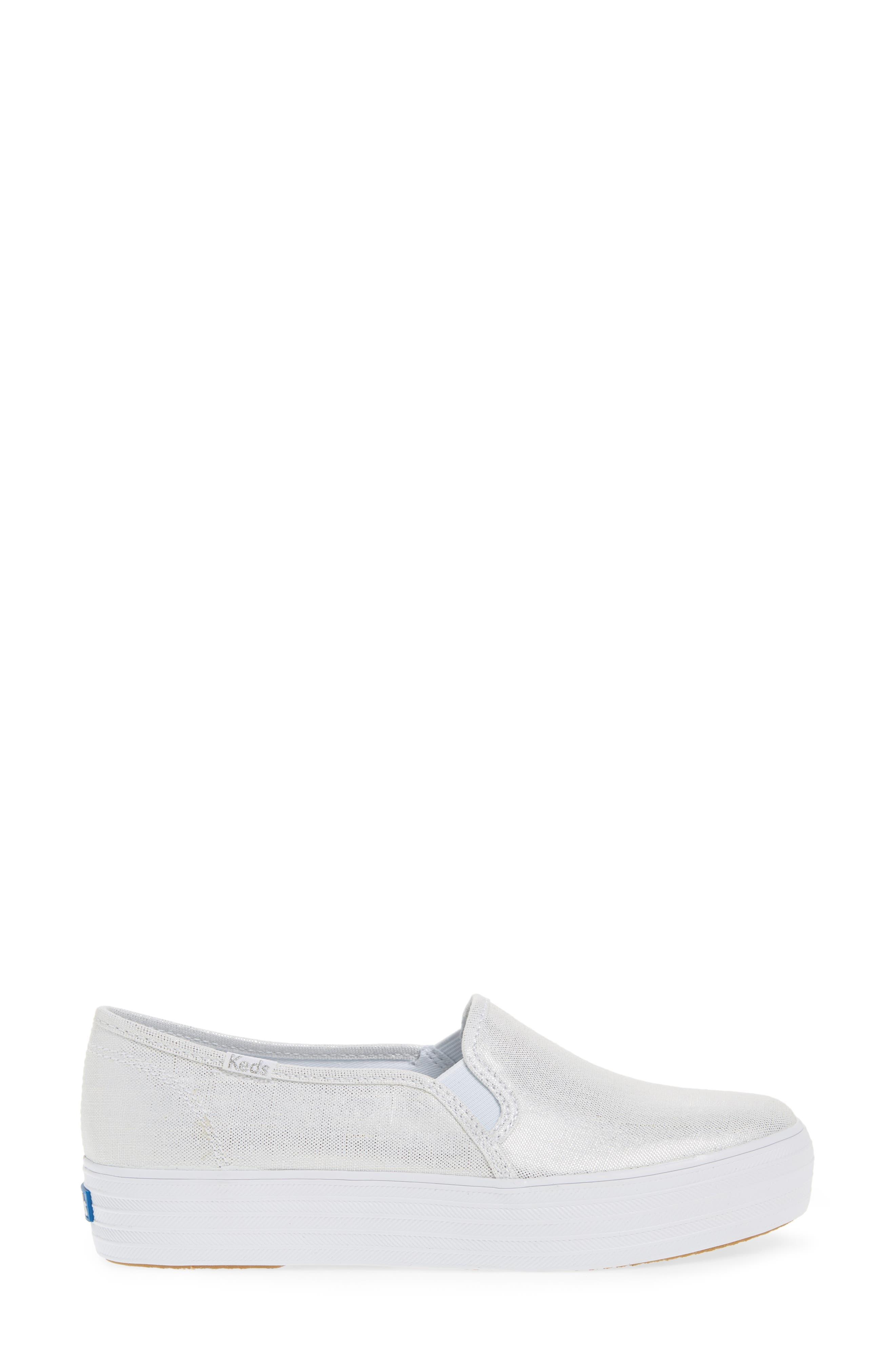 Triple Decker Metallic Linen Slip-On Sneaker,                             Alternate thumbnail 5, color,