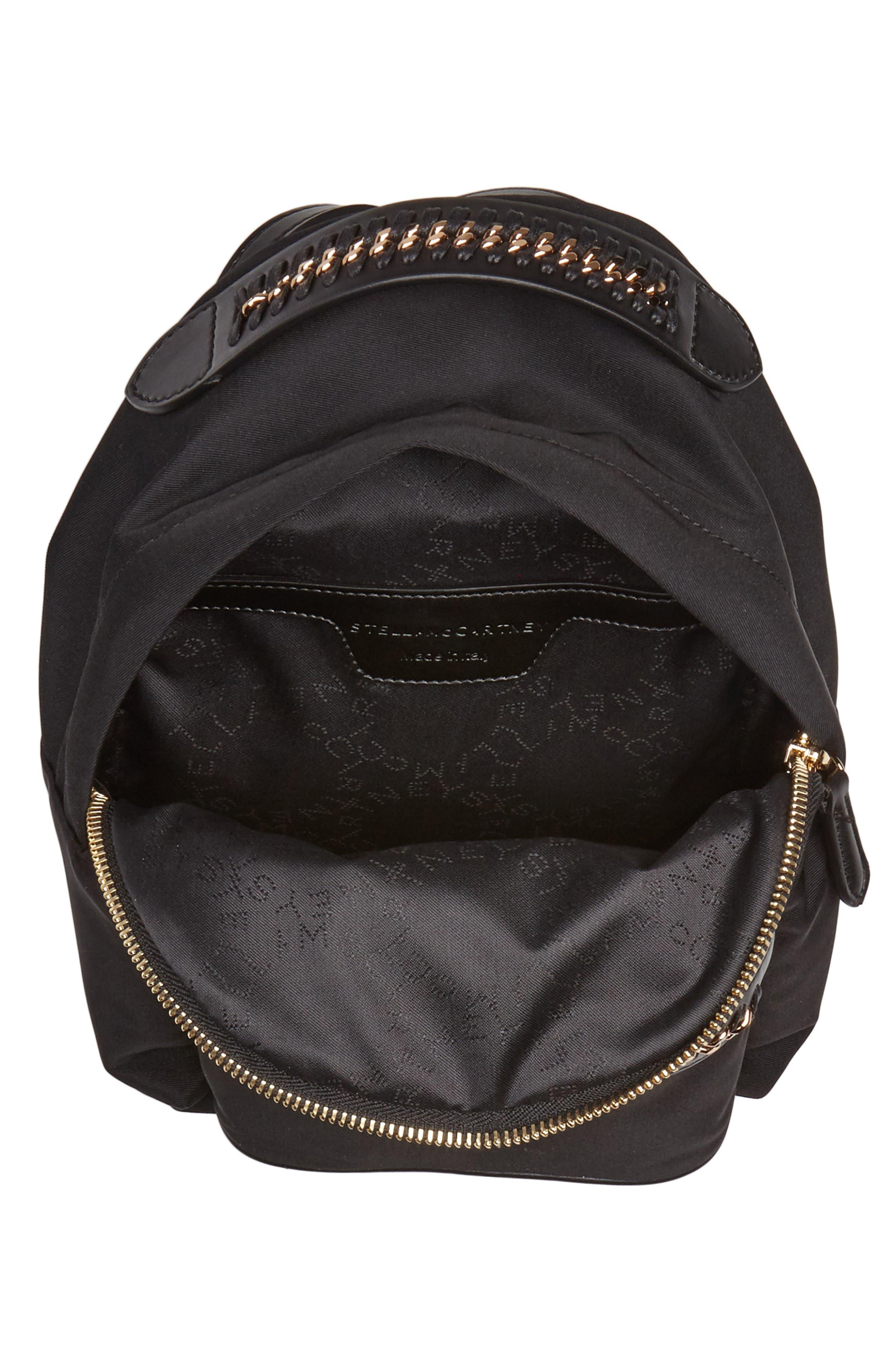 Mini Falabella Nylon Backpack,                             Alternate thumbnail 4, color,                             001