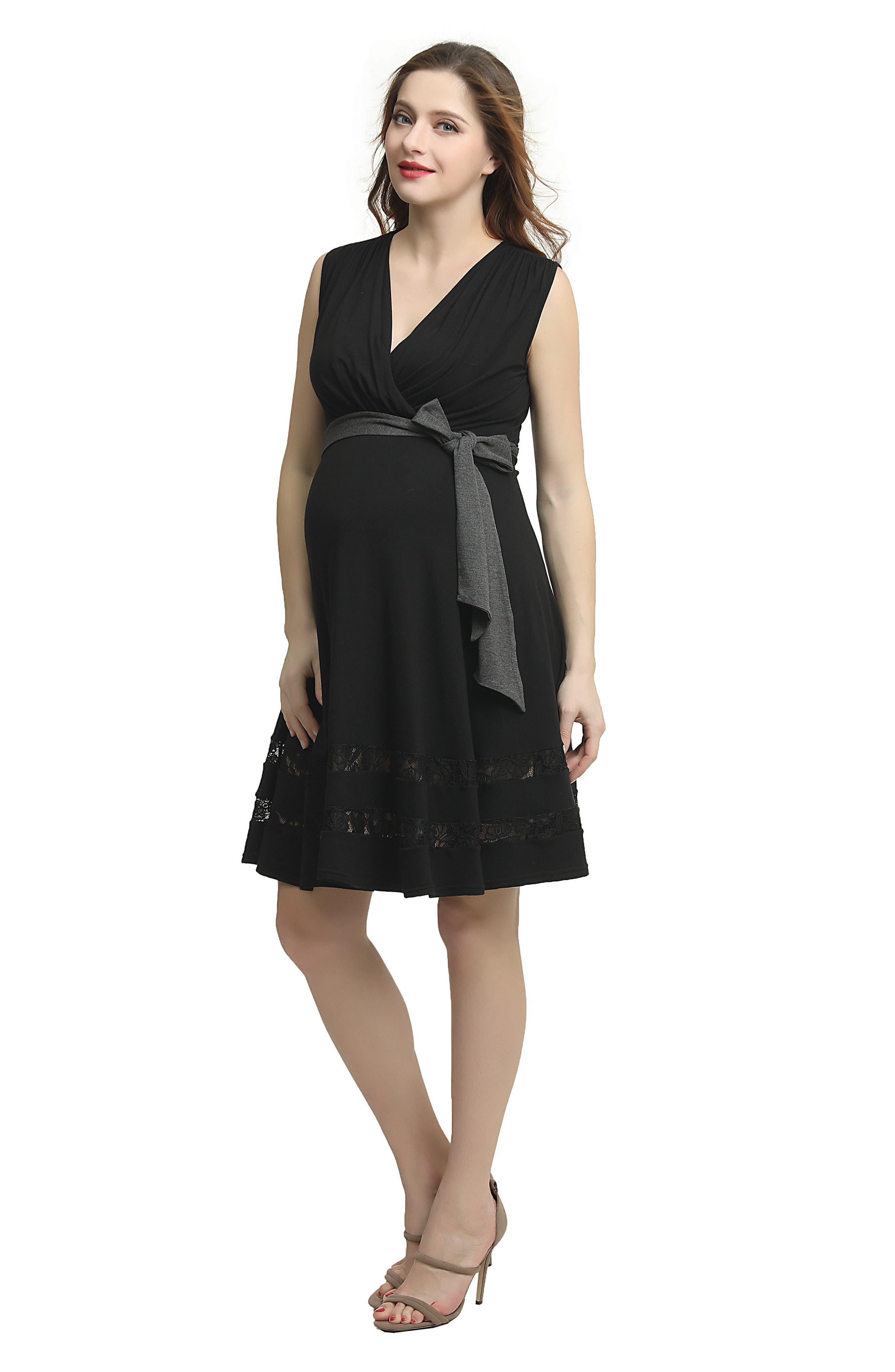Marji Lace Accent Babydoll Maternity/Nursing Dress,                             Alternate thumbnail 4, color,                             BLACK