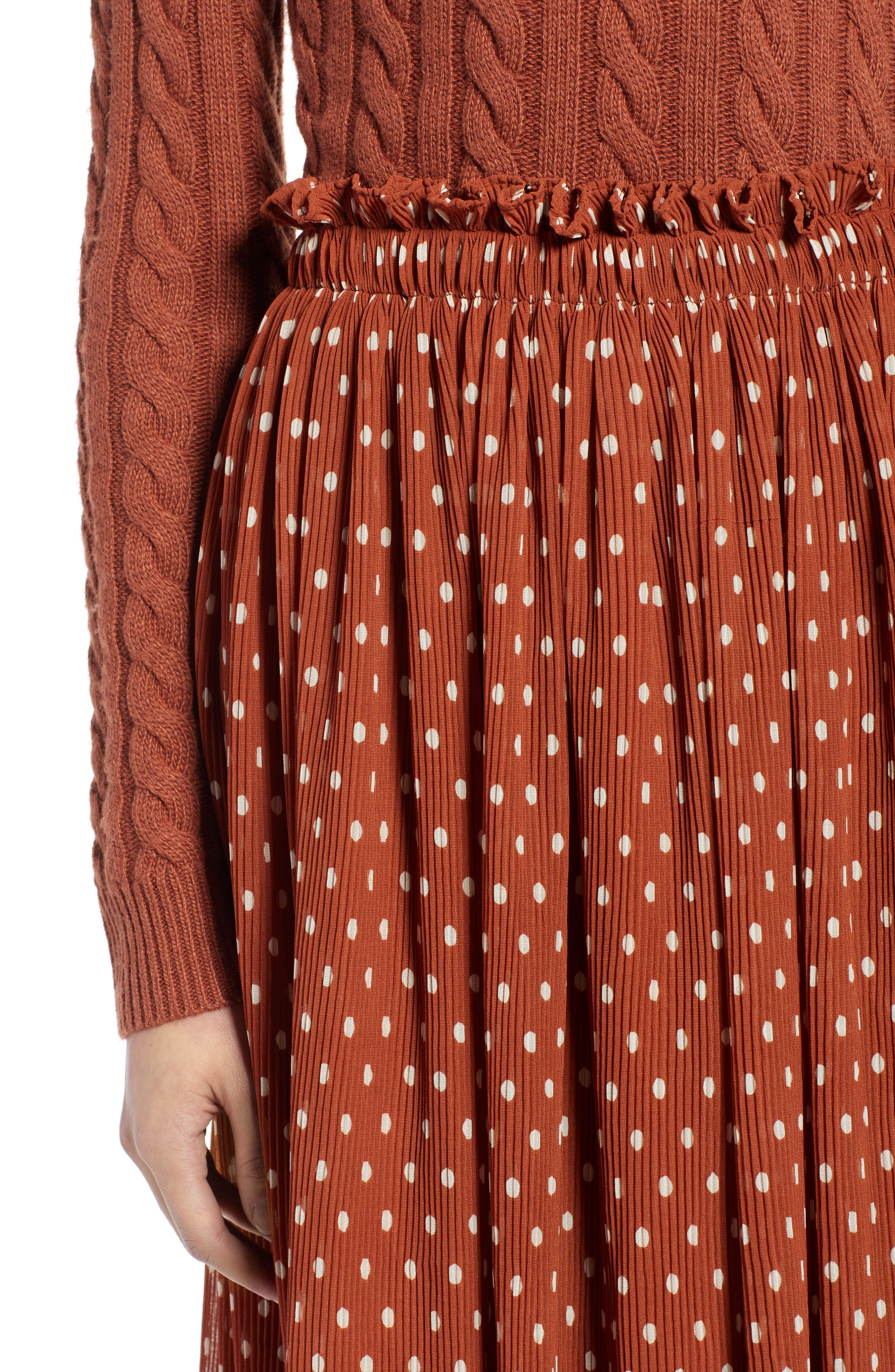 x Atlantic-Pacific Crinkle Midi Skirt,                             Alternate thumbnail 5, color,                             RUST SPACED DOT