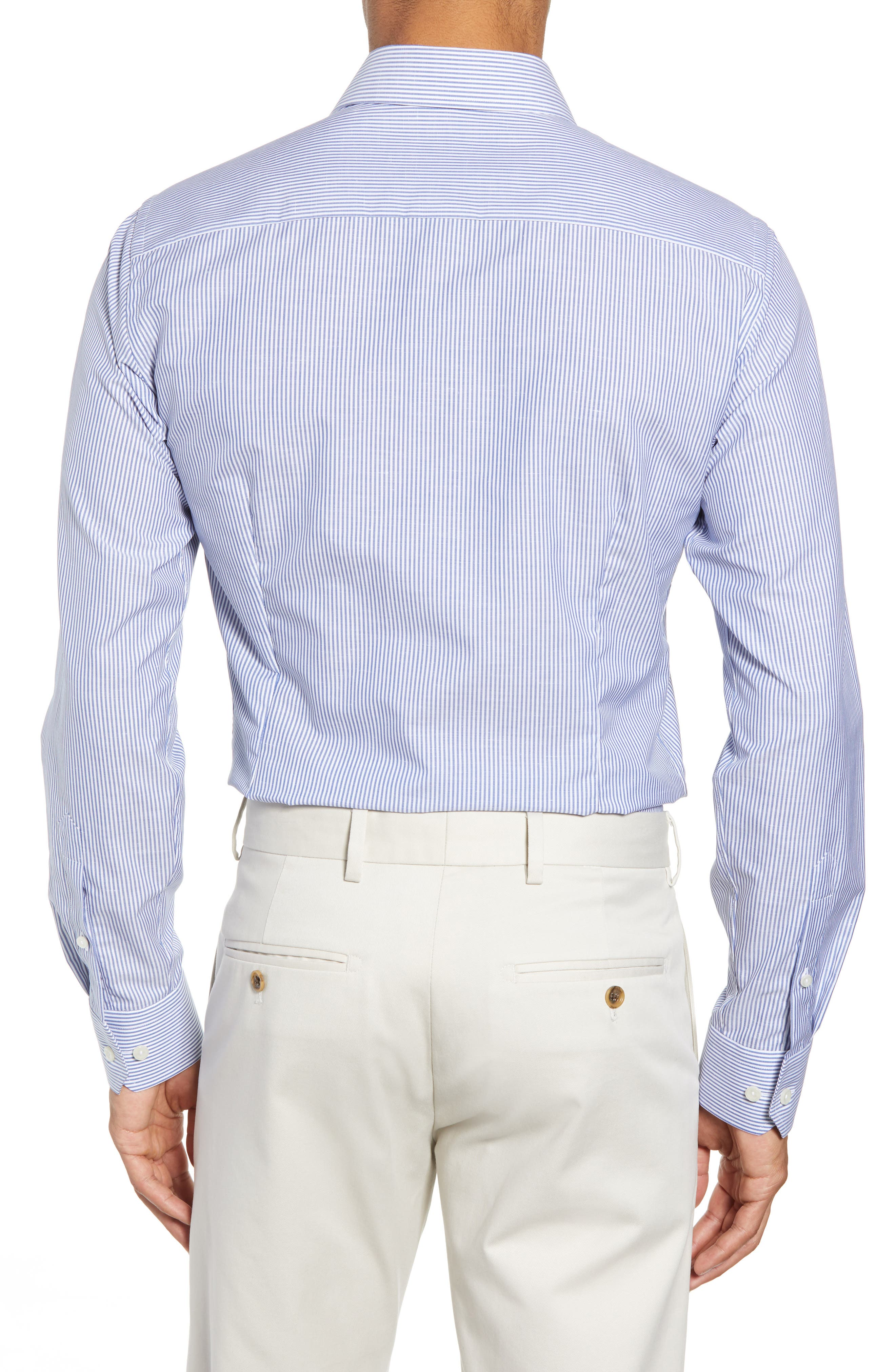 Slim Fit Stripe Dress Shirt,                             Alternate thumbnail 3, color,