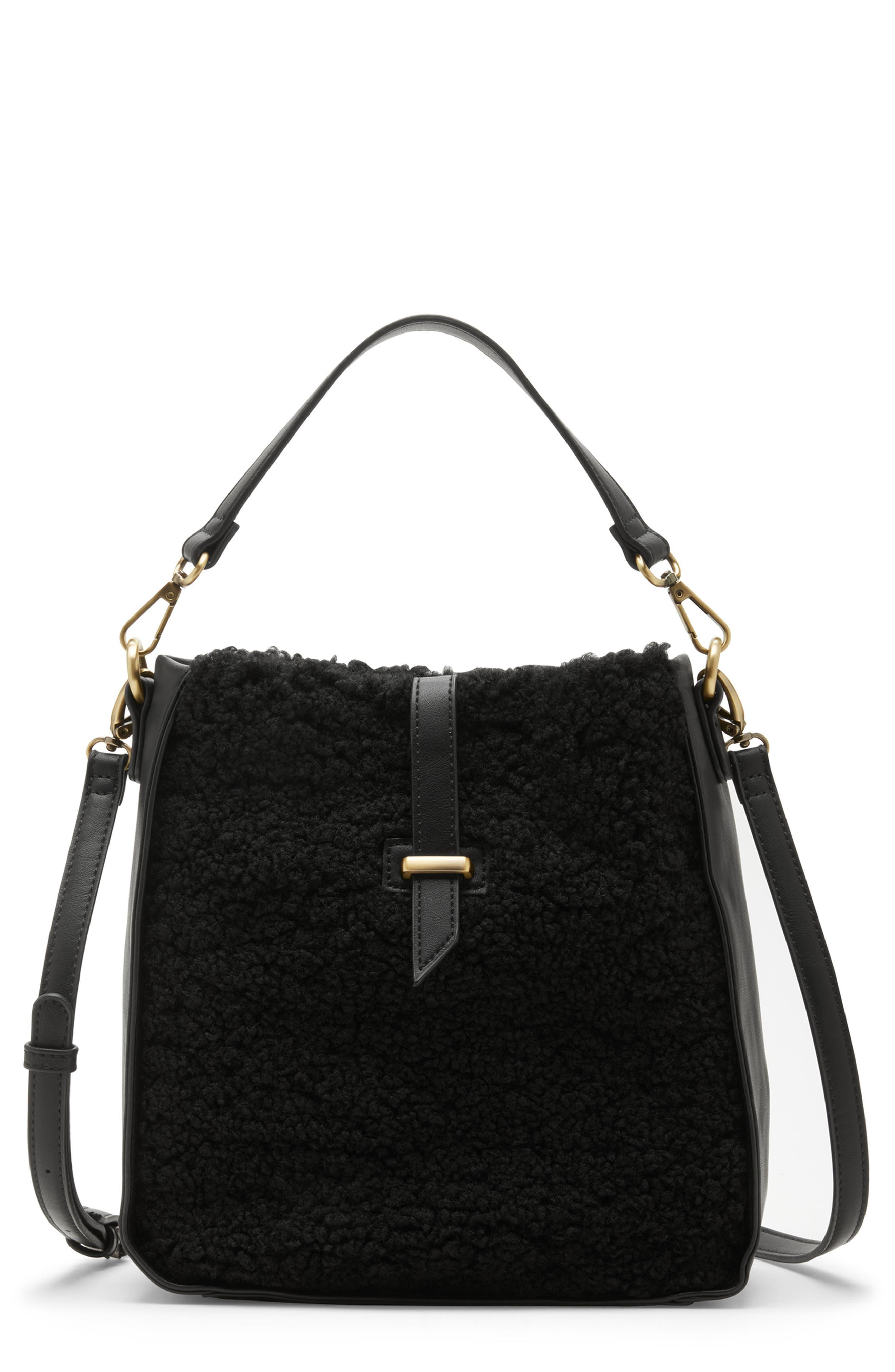 Drury Faux Shearling Crossbody Bag,                         Main,                         color, 001