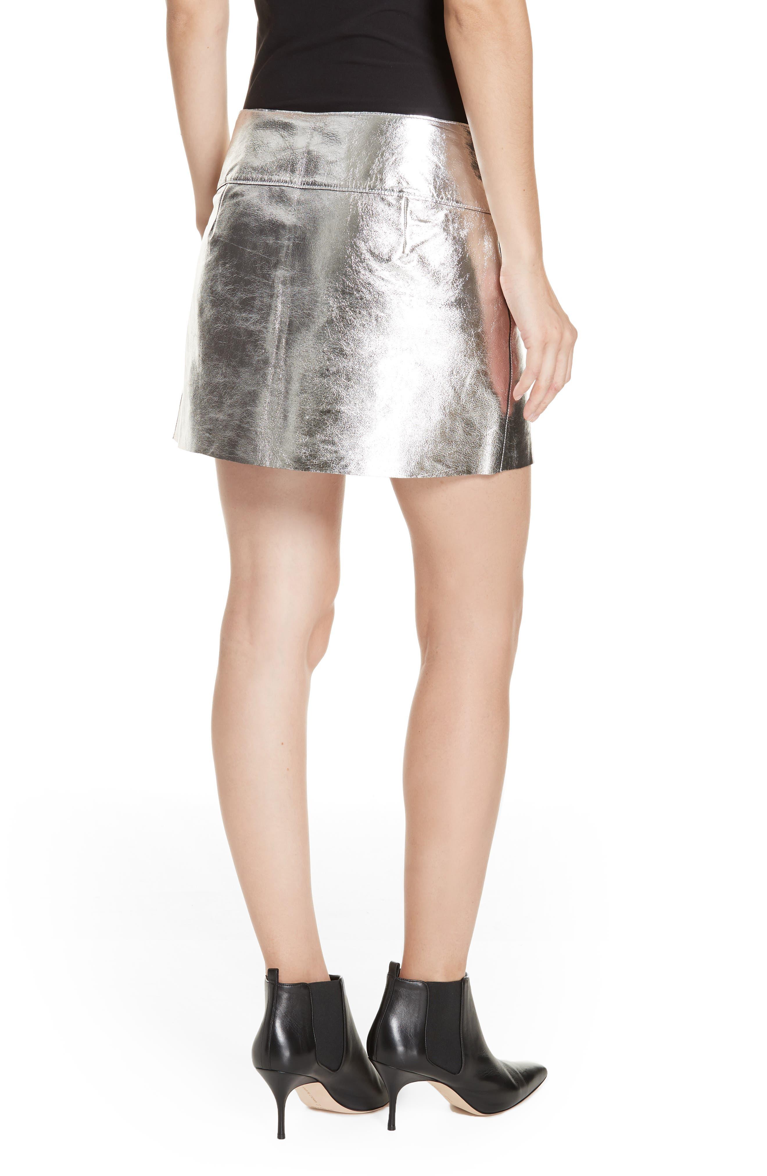 Mania Metallic Leather Skirt,                             Alternate thumbnail 2, color,                             GREY