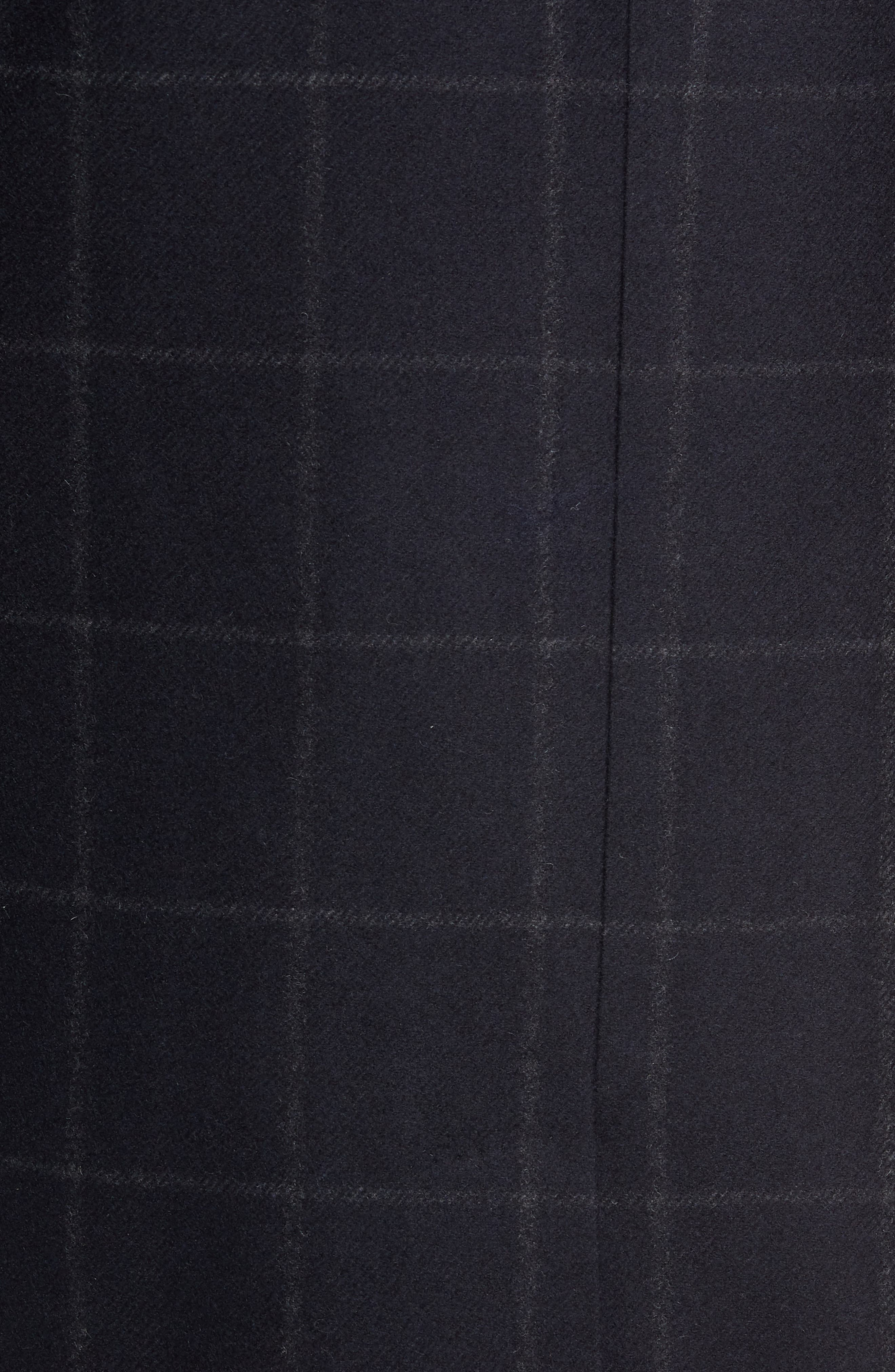 Addison Windowpane Wool Blend Overcoat,                             Alternate thumbnail 7, color,                             NAVY