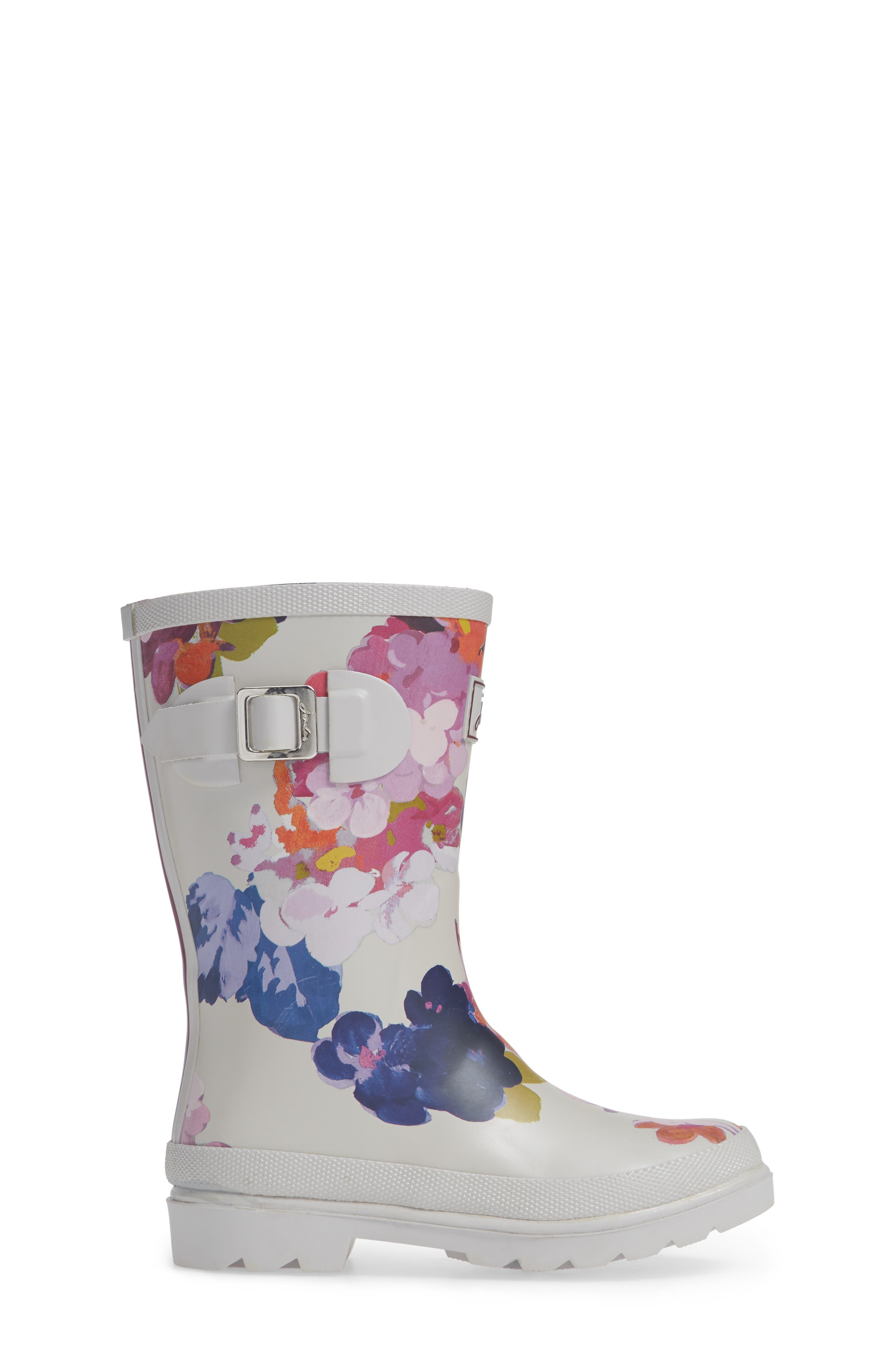 Mid Height Print Welly Waterproof Rain Boot,                             Alternate thumbnail 3, color,                             GREY PAINTED FLORAL