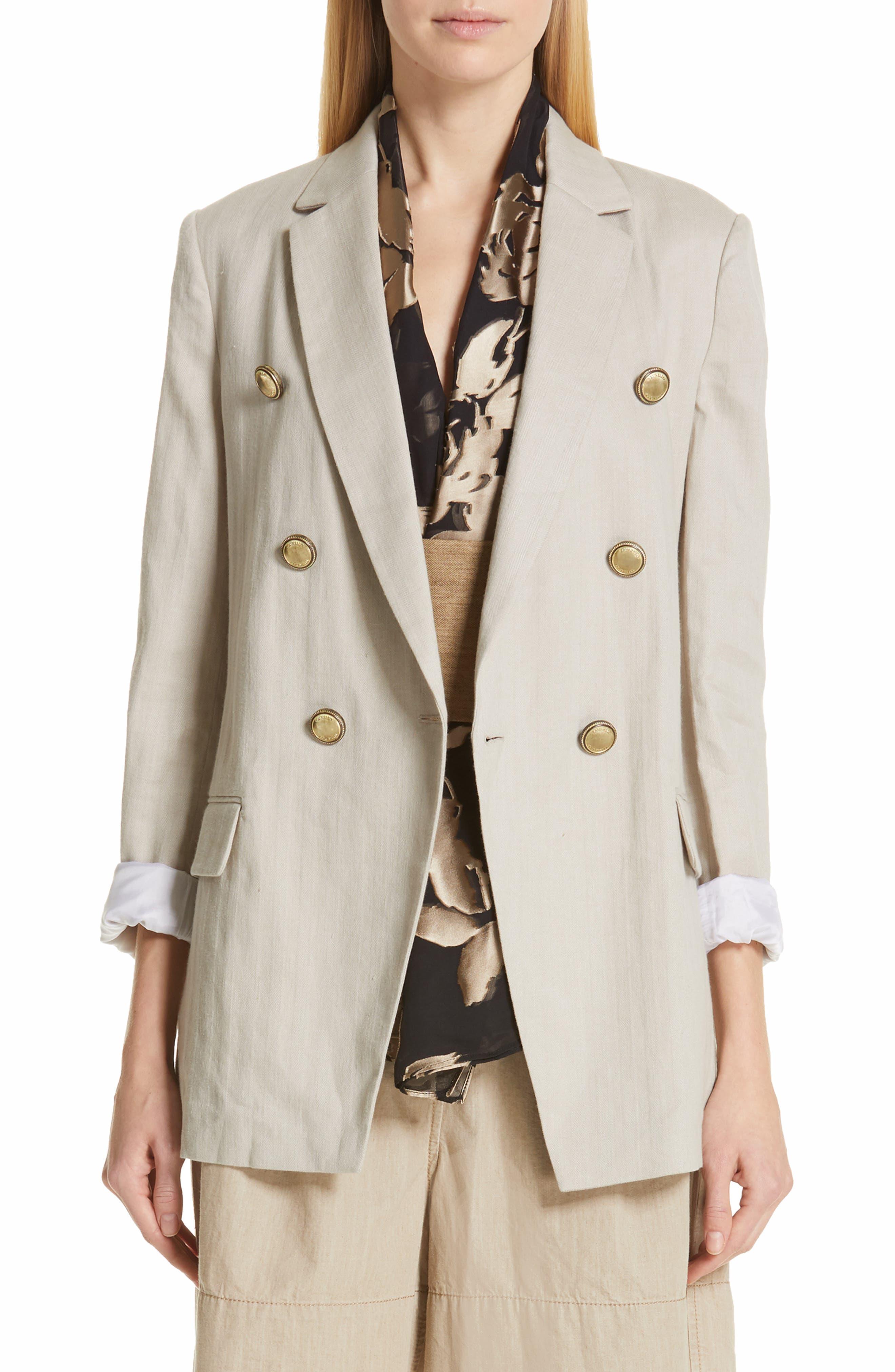 Chevron Weave Cotton & Linen Jacket, Main, color, DESERT