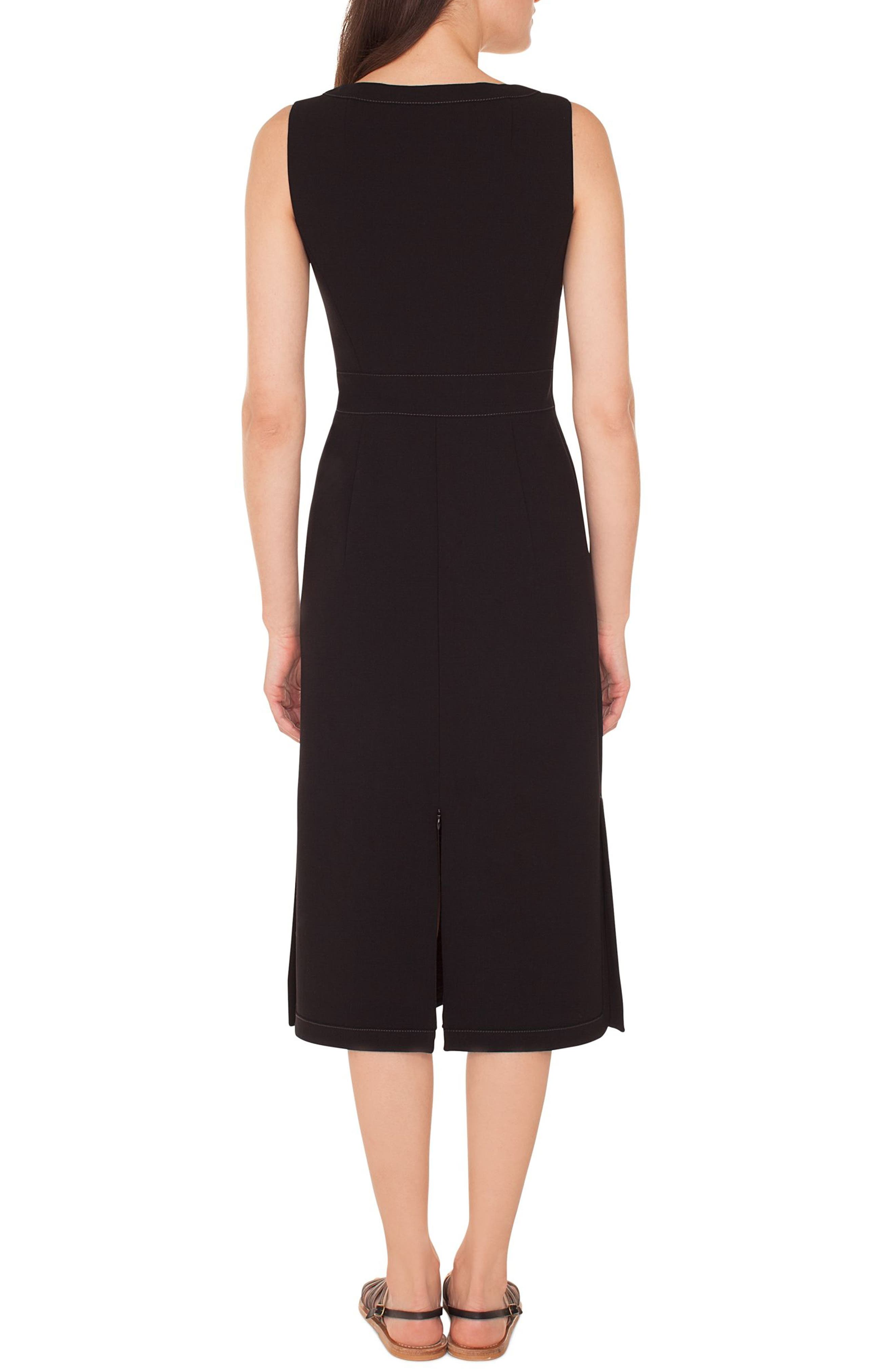 Topstitch Double Face Stretch Wool Dress,                             Alternate thumbnail 2, color,                             BLACK