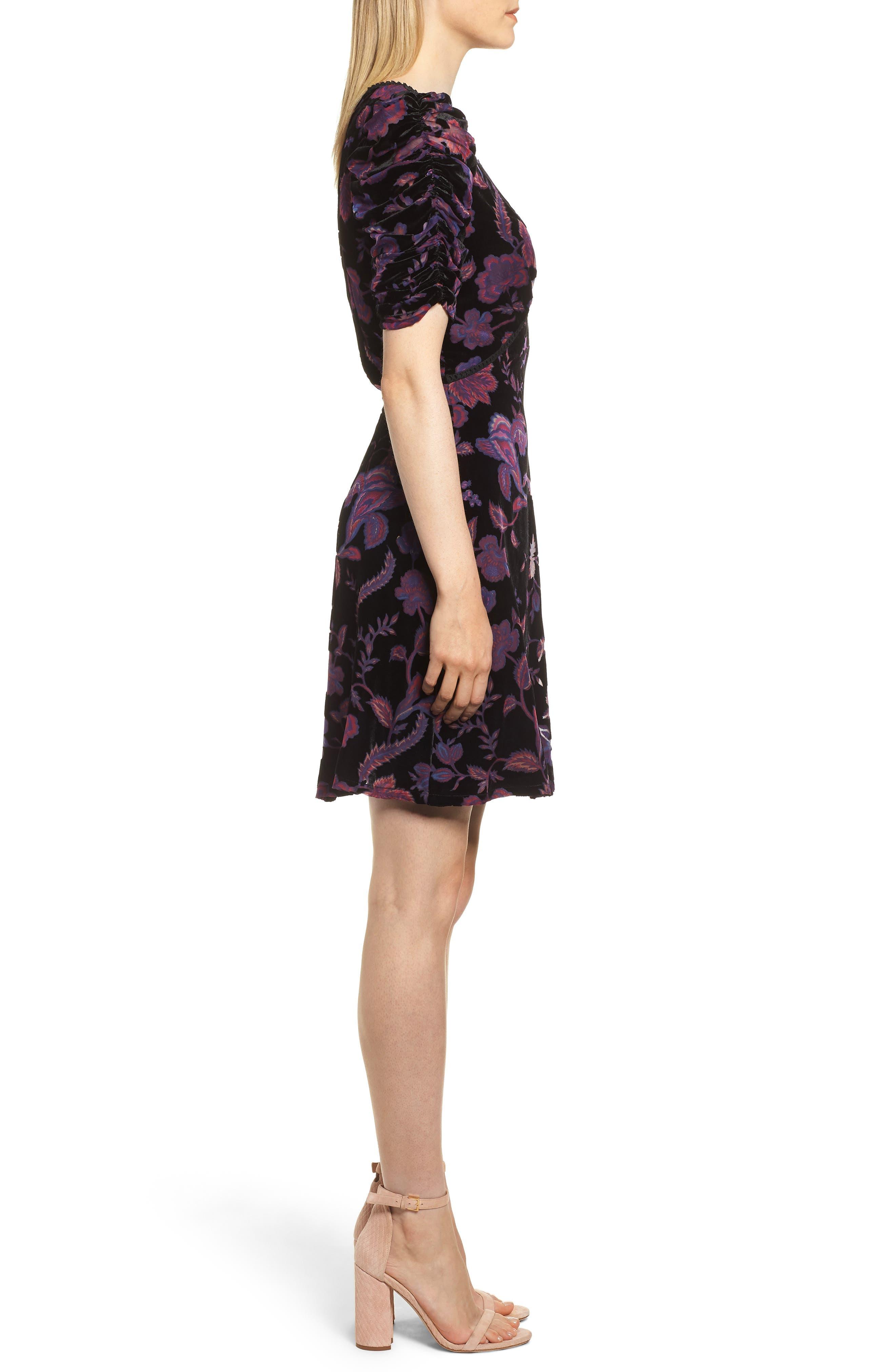 Arlette Floral Velvet Dress,                             Alternate thumbnail 3, color,                             BLACK MULTI