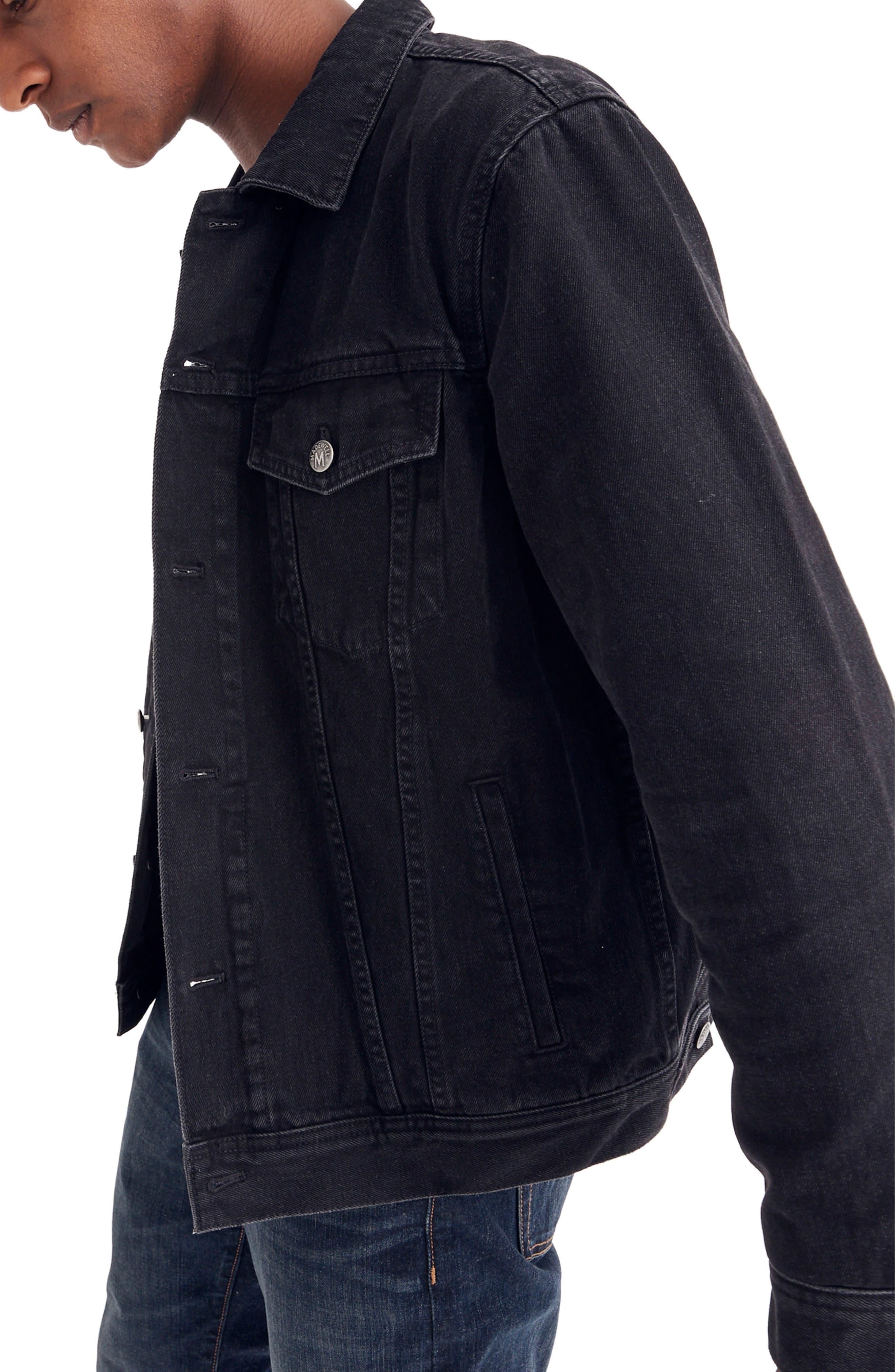 Classic Denim Jacket,                             Alternate thumbnail 3, color,                             BLACK