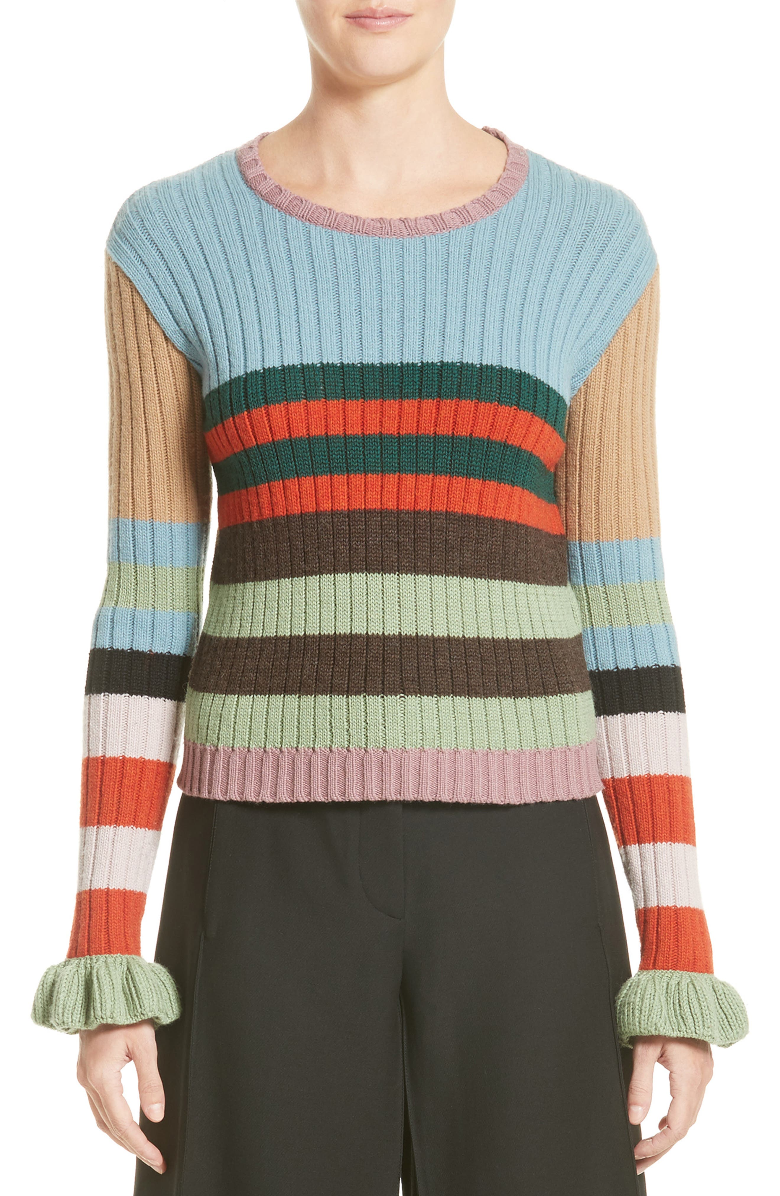 Stripe Wool Sweater,                             Main thumbnail 1, color,                             020