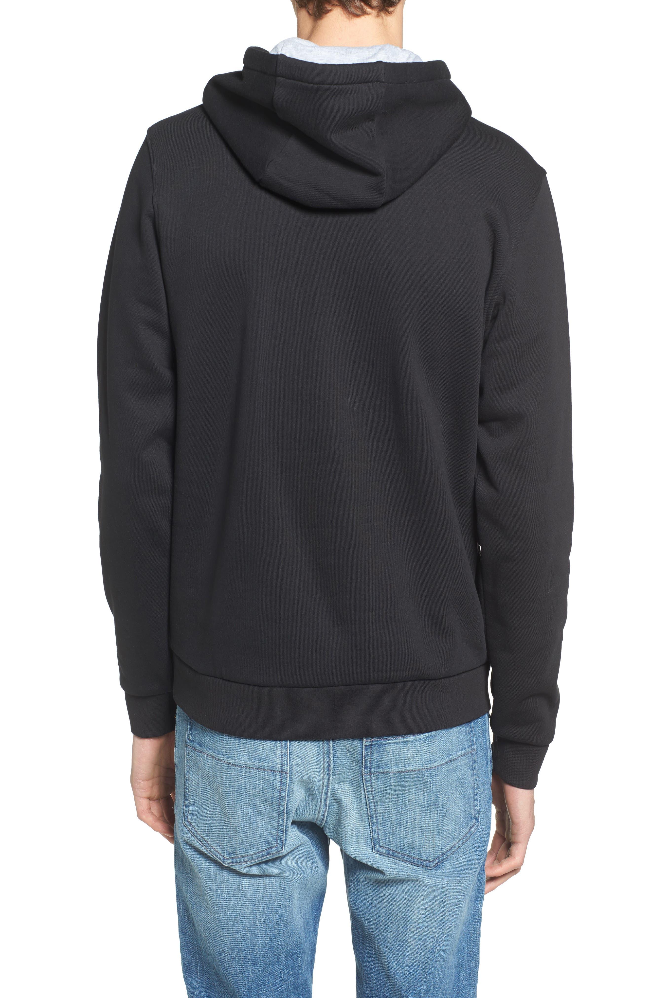Sport Cotton Blend Hoodie,                             Alternate thumbnail 2, color,                             BLACK/ SILVER CHINE