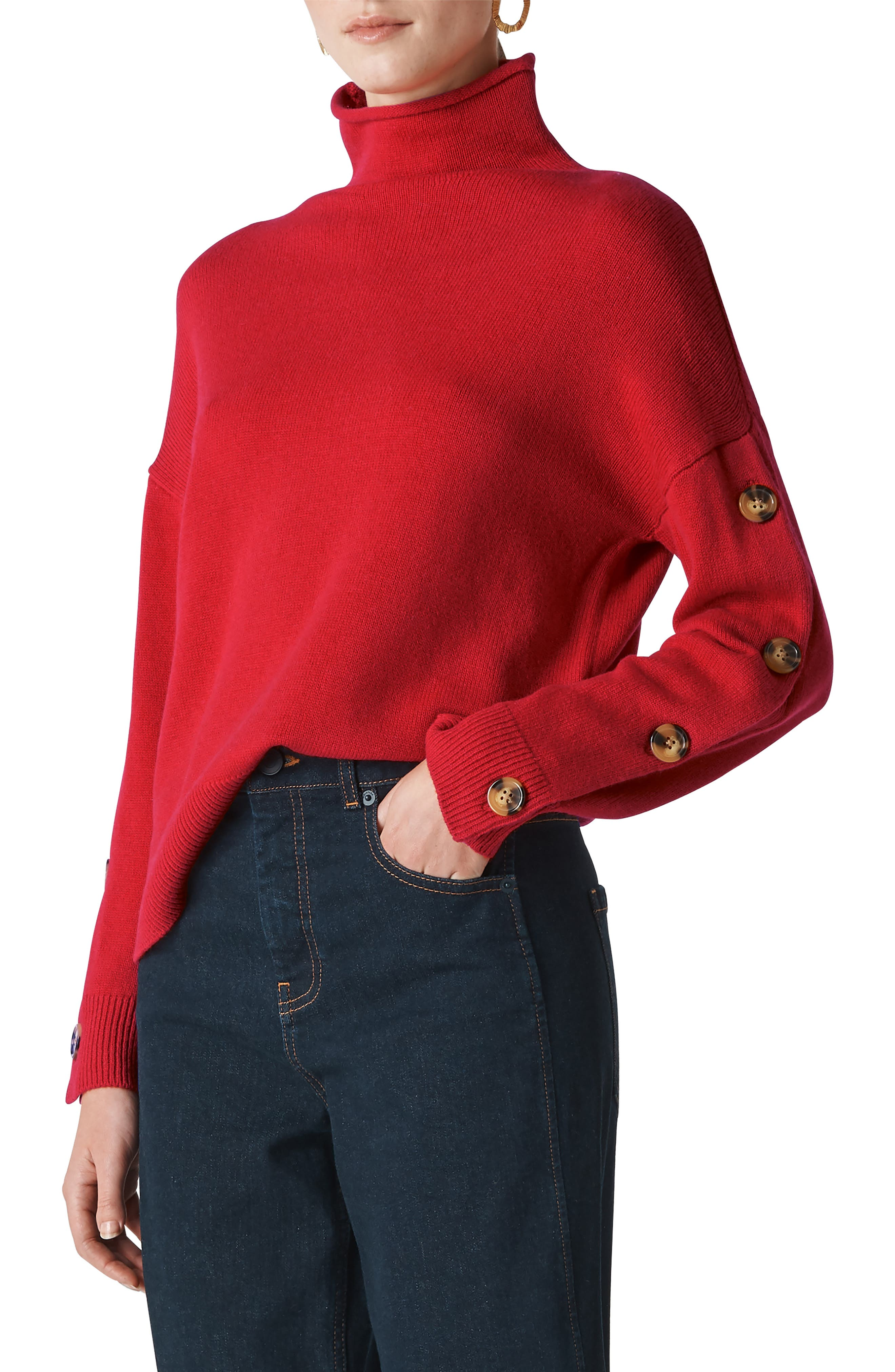 Button Sleeve Funnel Neck Sweater,                             Main thumbnail 1, color,                             RED