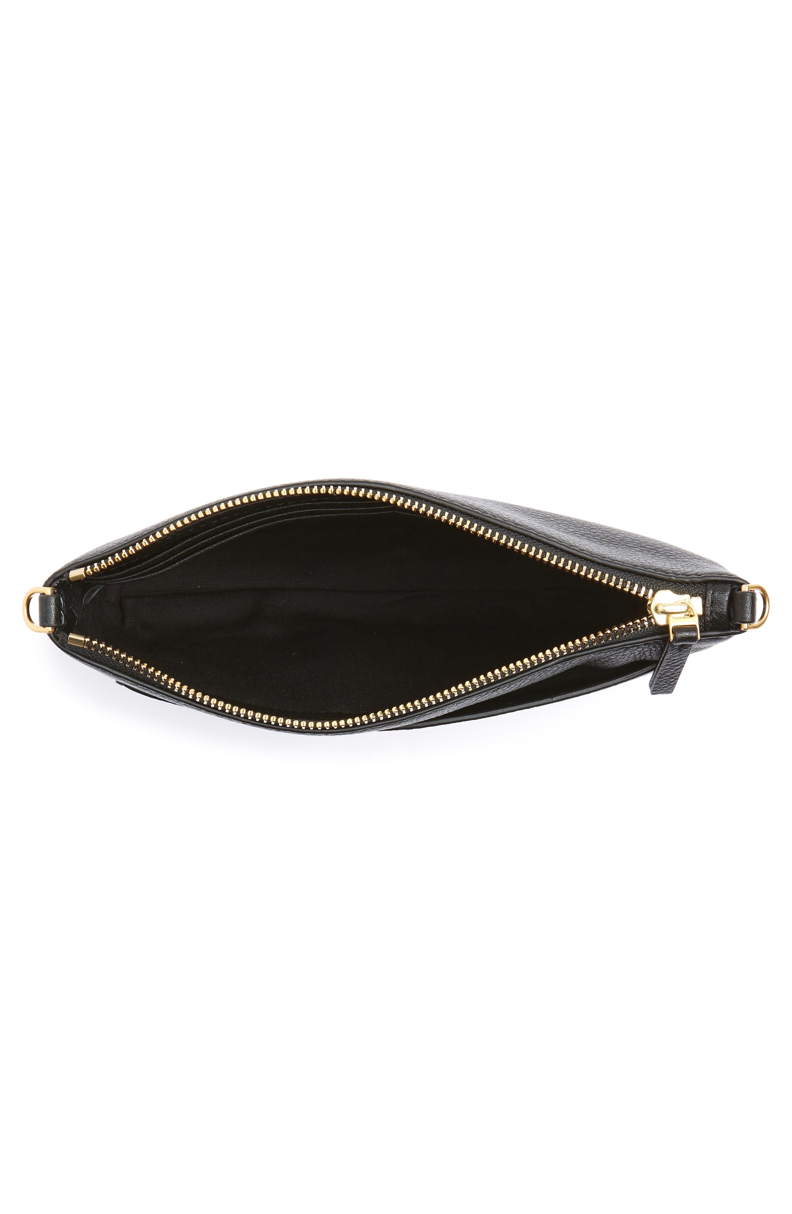 Tassel Leather Crossbody Bag,                             Alternate thumbnail 4, color,                             BLACK