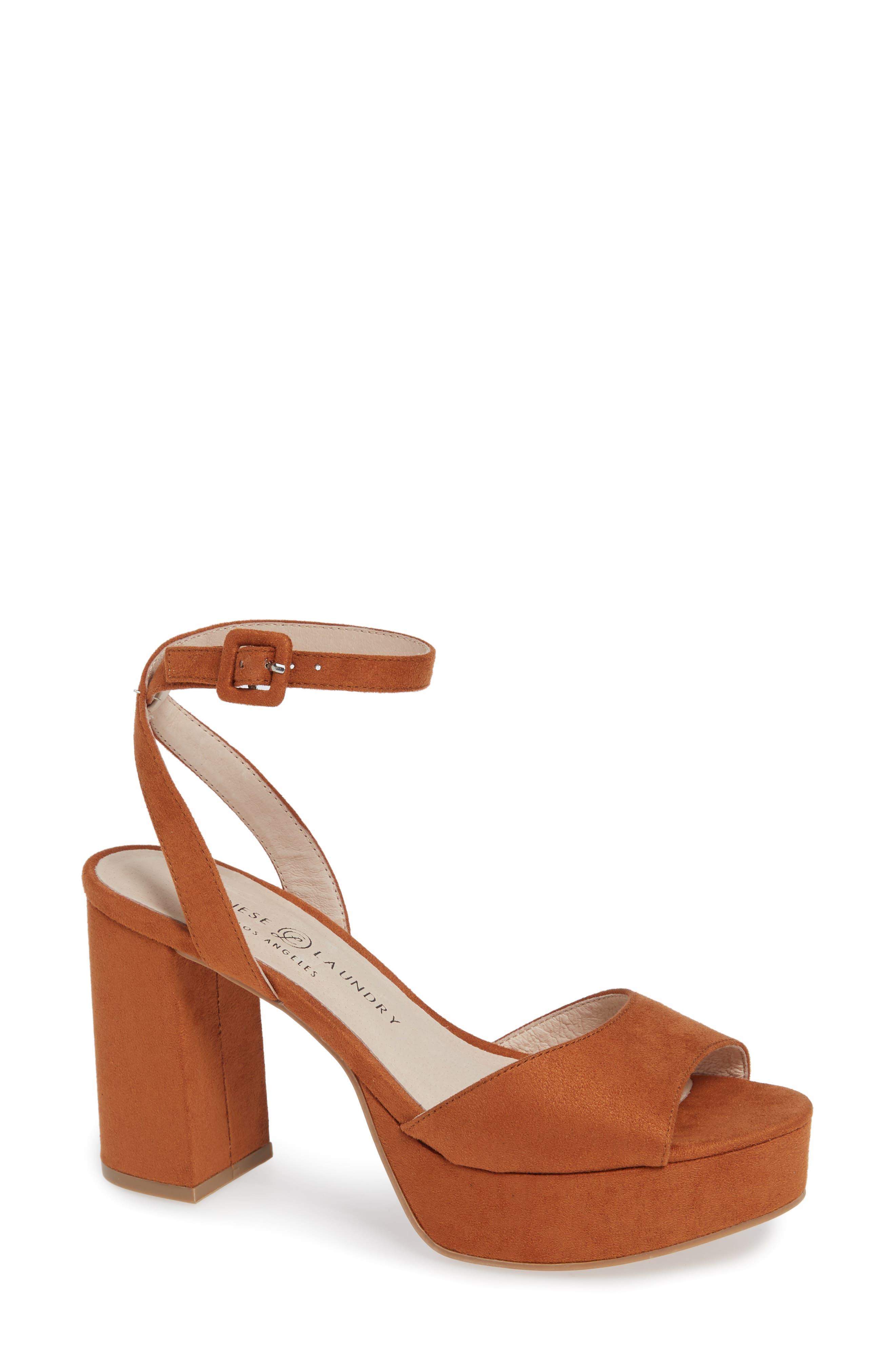 Theresa Platform Sandal,                         Main,                         color, UMBER SUEDE