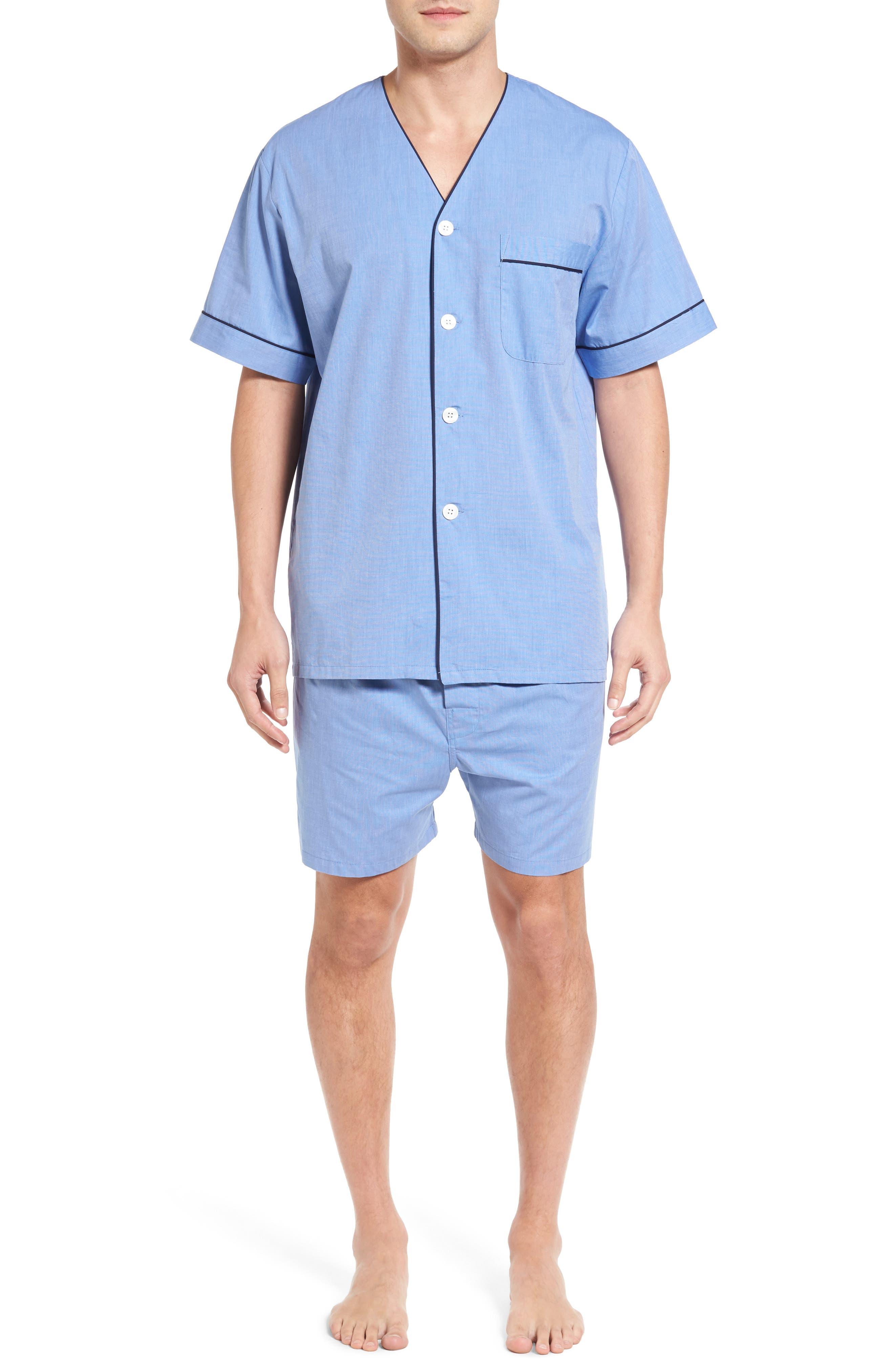 Cotton Short Pajamas,                         Main,                         color, BLUE