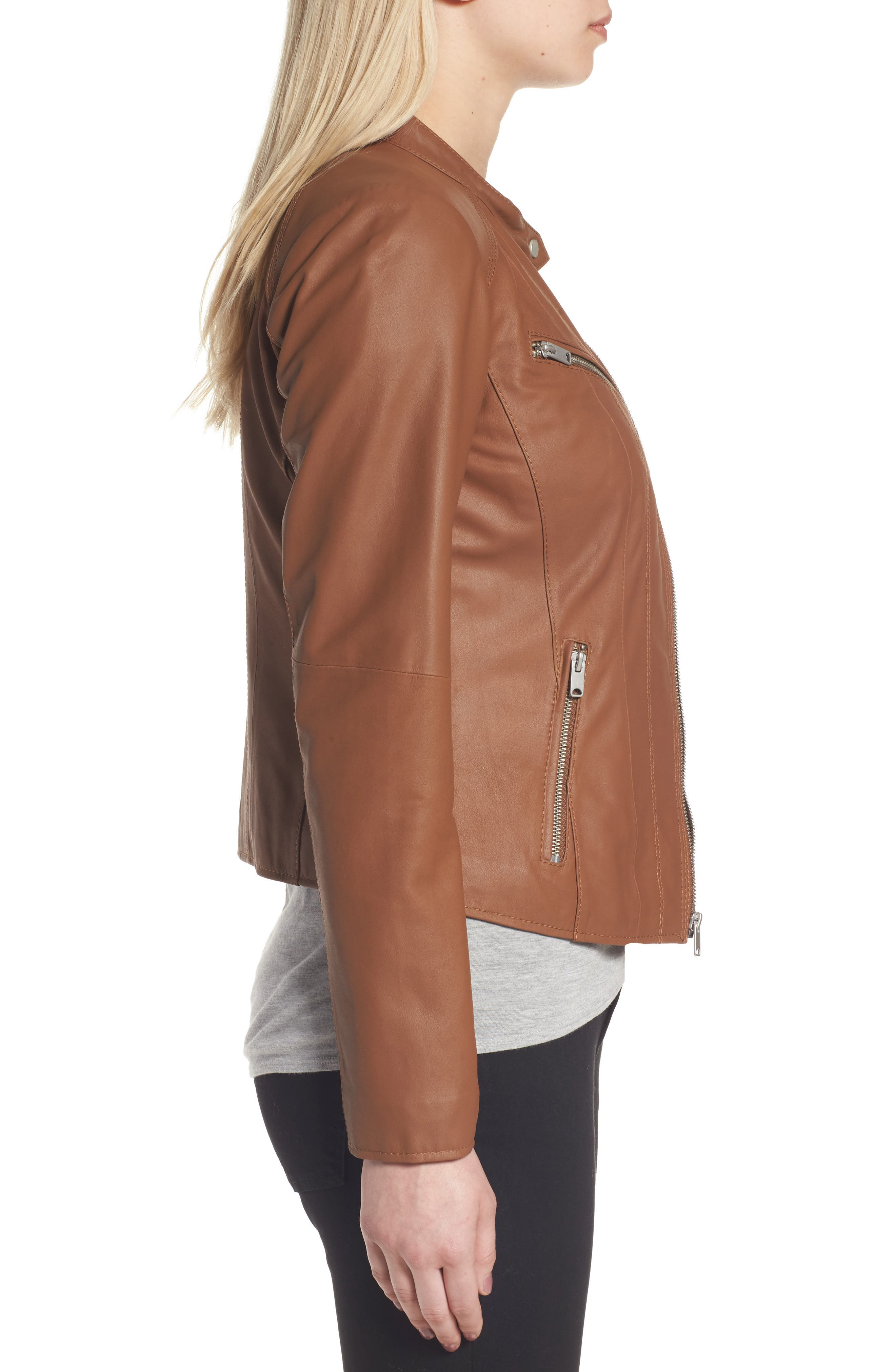 Andrew Marc Felicity Leather Moto Jacket,                             Alternate thumbnail 6, color,