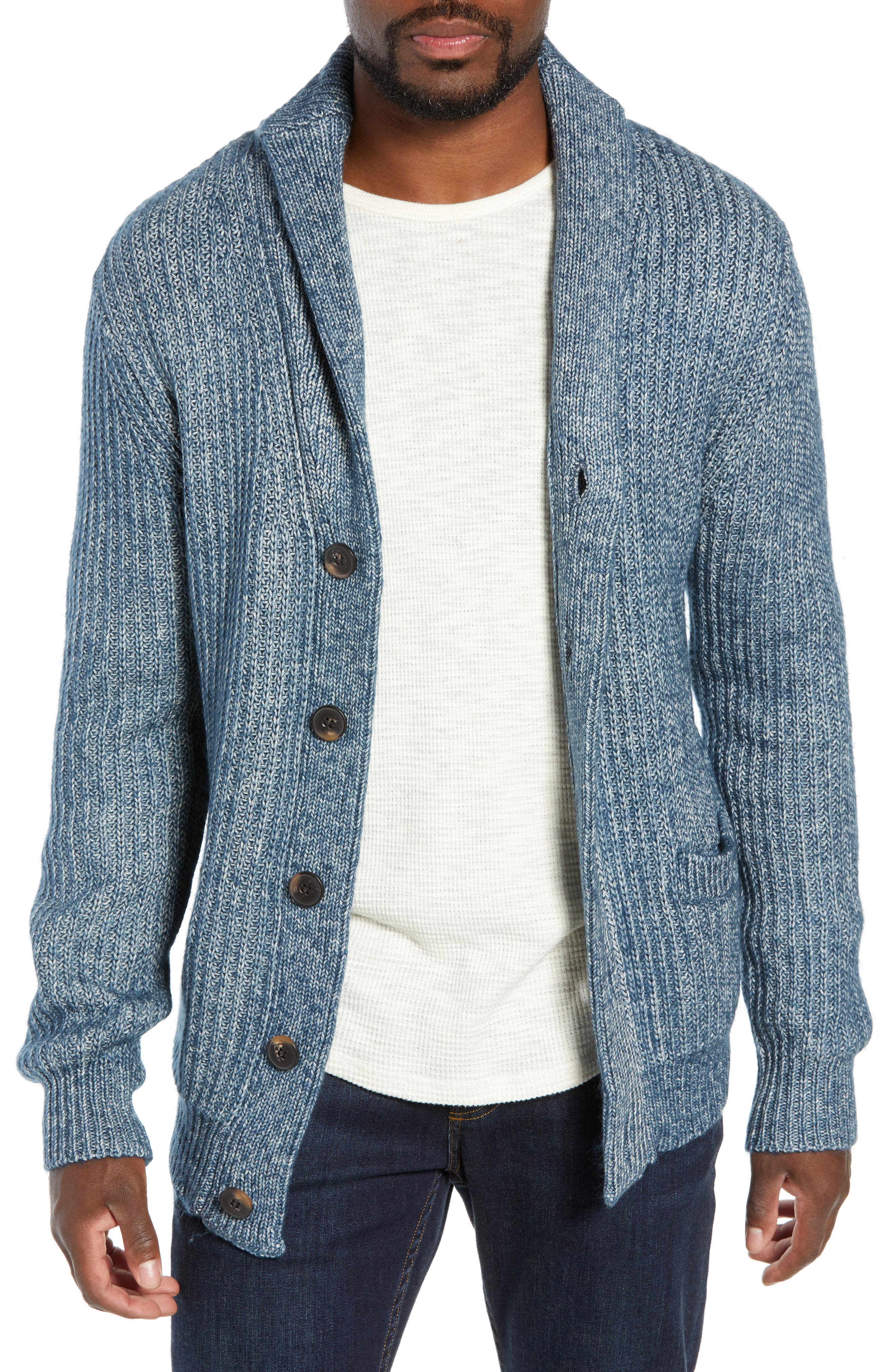 Schott Nyc Multi Yarn Shawl Collar Cardigan, Blue